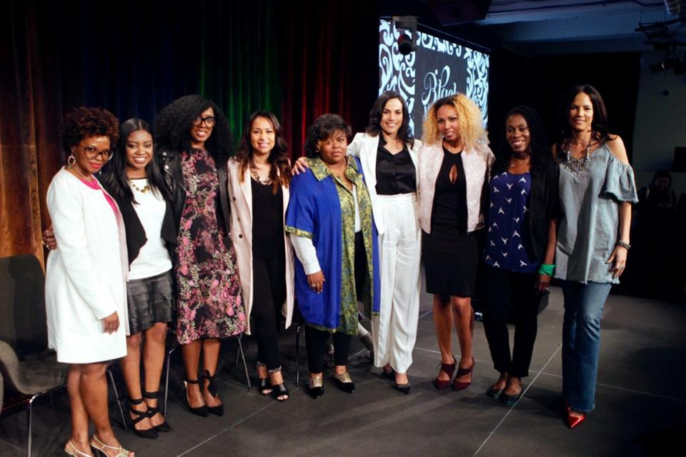 """Speakers: Marcia Cole, Rhonesha Byng, Renae Bluitt, Valeisha Butterfield-Jones, Chana Ginelle Ewing, Crystal McCrary, Jamilah Lemieux, Tiffany """"The Budgetnista"""" Aliche, and Veronica Webb (not pictured, Lauren Maillian and Demma Rosa Rodriguez) at """"Black, Woman, and Genius: The Power of Identity"""" held at Google NYC on 4.24.17 (Credit: Terrence Jennings / terrencejennings.com)."""