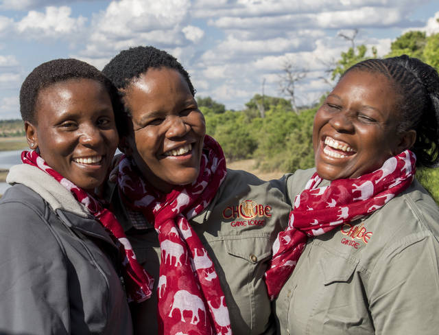 THE NEW YORK TIMES  From left to right: Oriah Nthobatsang, Canah Moatshe and Yazema Moremong are guides at Botswana's Chobe National Park, which has the first and only all-female guiding team in Africa.