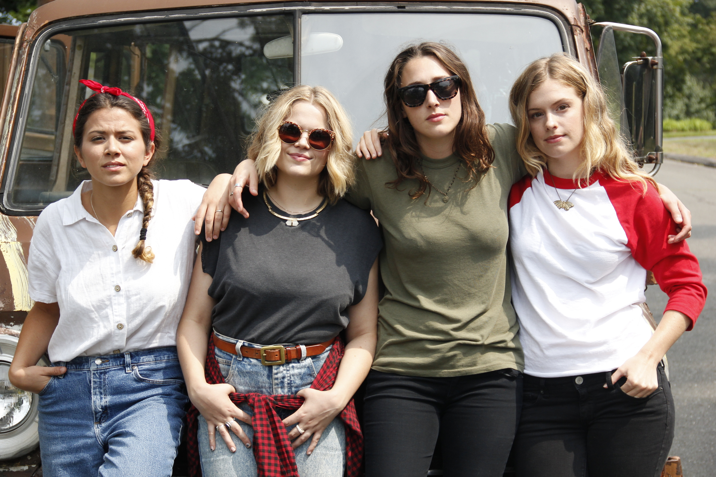 Actresses (L-R) Danielle Guido, Jane Bruce, Sam Quartin, and Devon Werden on the set of  Noah and the Band  in August 2015.