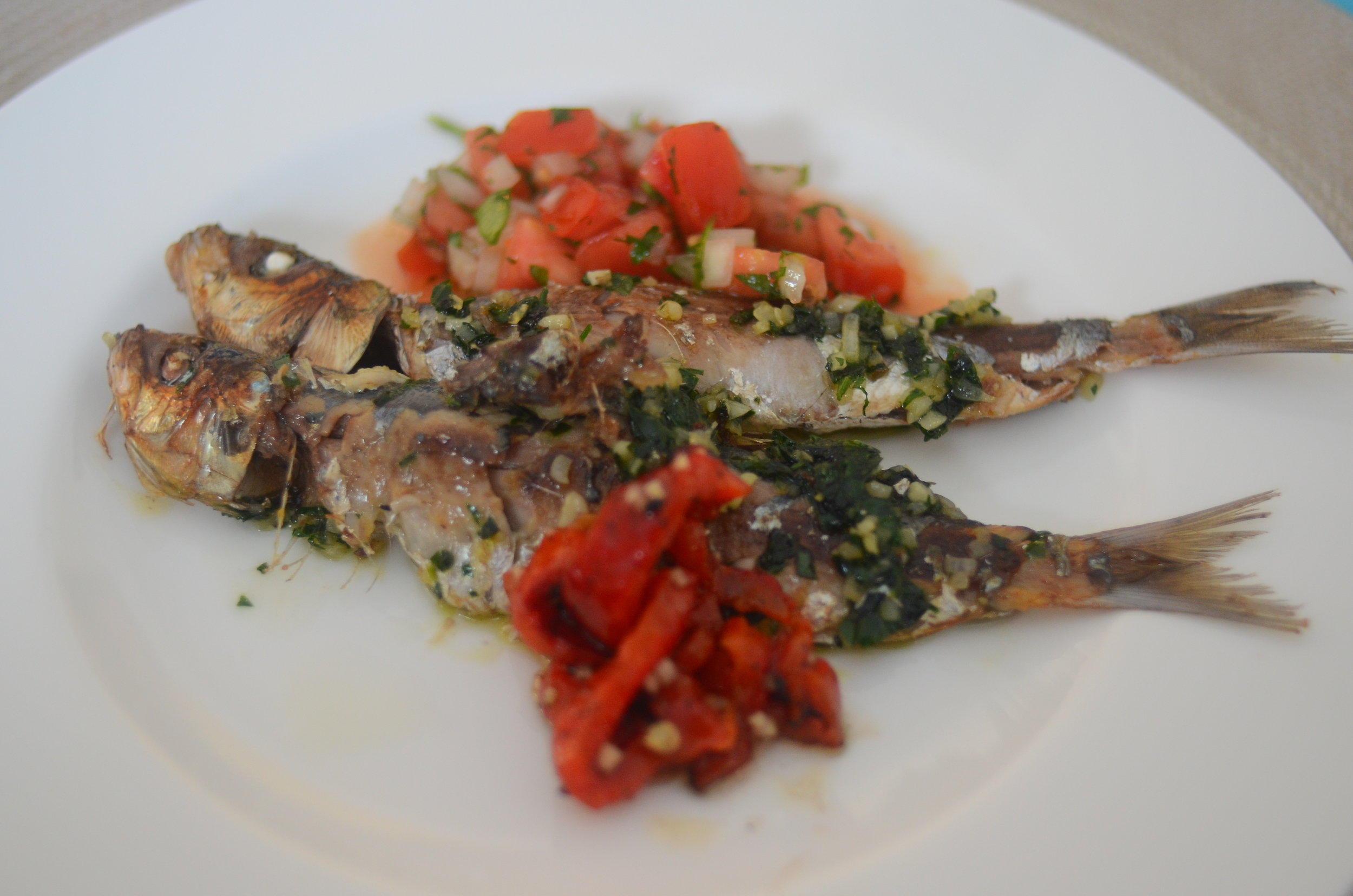 Delicate sardines smothered in rich tomato relish.