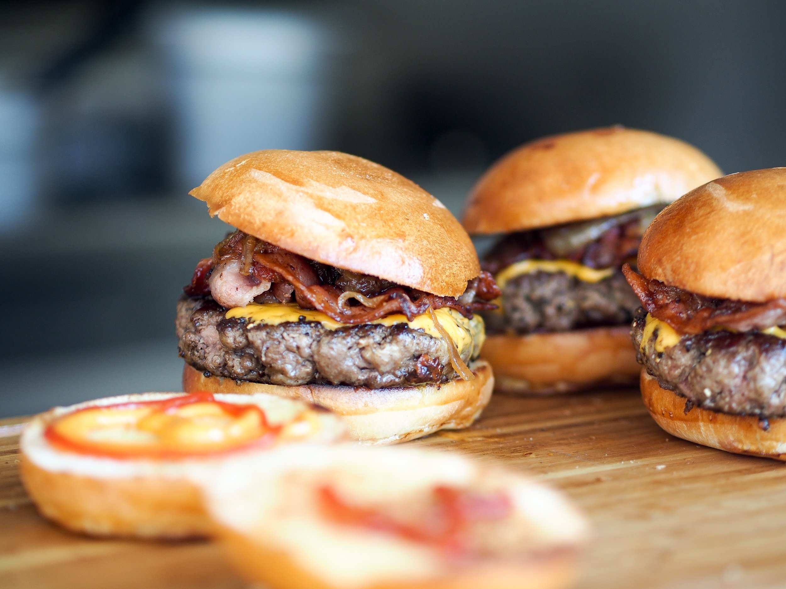 Juicy burgers. Make them with some oven baked sweet potato fries and YUM!