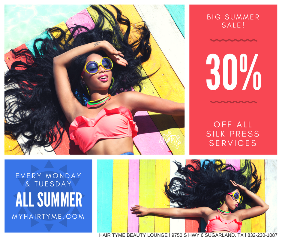 30% Off Silk Press & Blowouts - Every Monday & Tuesday all summer long, save 30% on all Silk Press and Blowout services at Hair TYME. Book now to save.