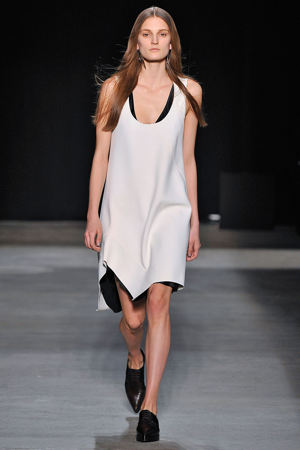 Look 4 Chalk double wool crepe layer dress.