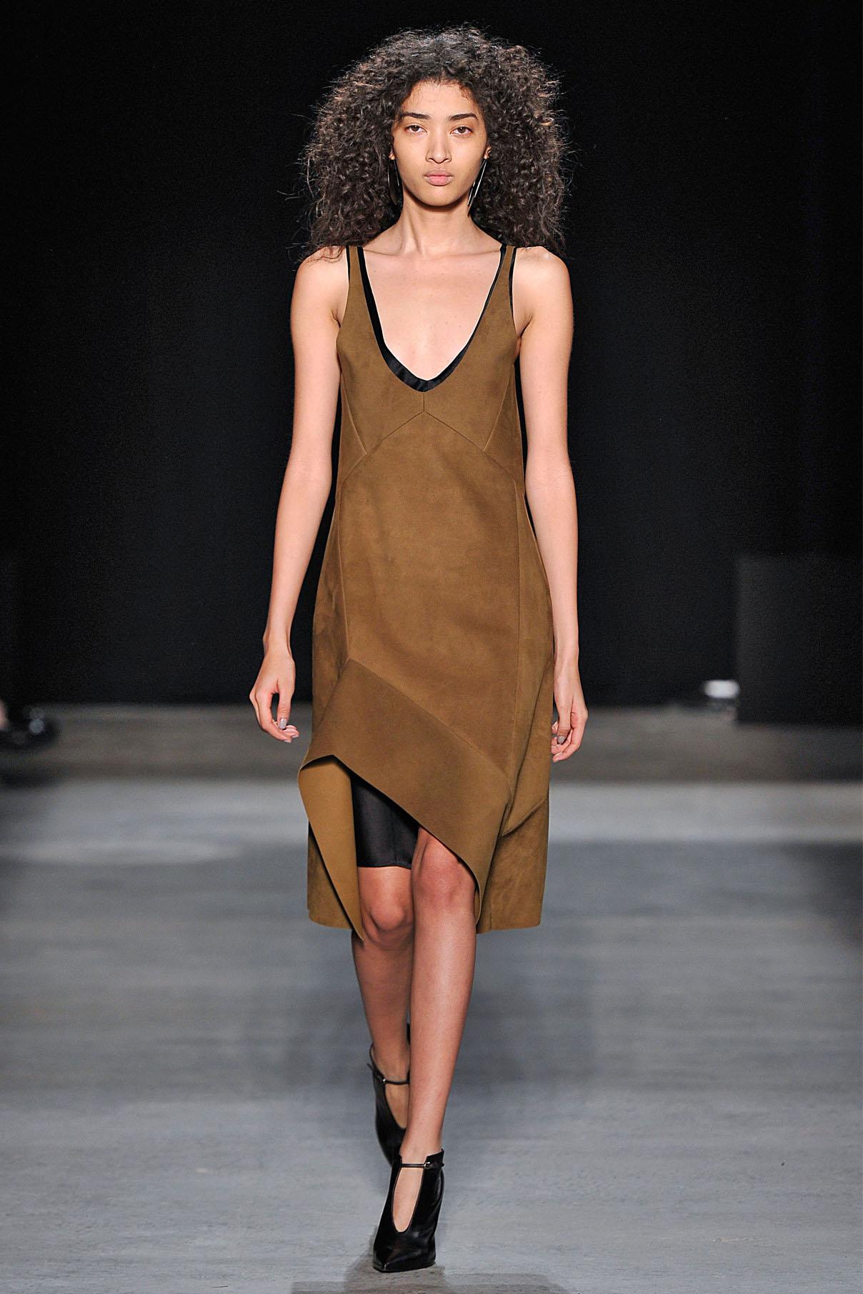 Look 6 Dark sulphur suede dress.