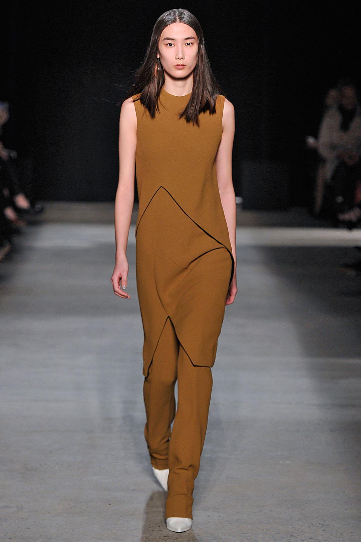 Look 10  Dark sulphur double wool crepe dress with dark sulphur double wool crepe trouser.