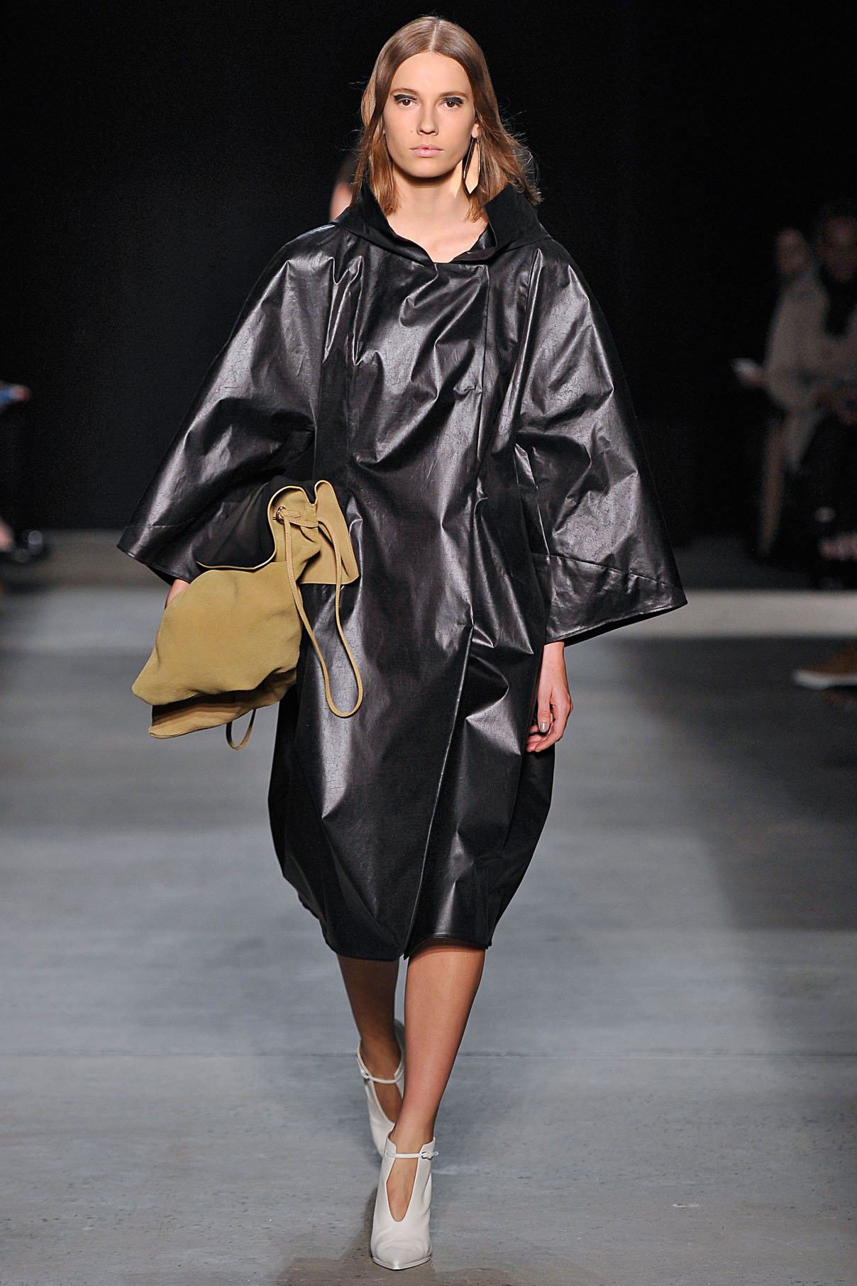 Look 9 Onyx bonded lacquer paper silk coat over chalk bias silk dress.