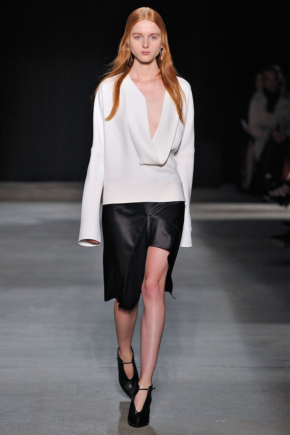 Look 14 White crepe top with onyx/midnight bonded silk skirt.
