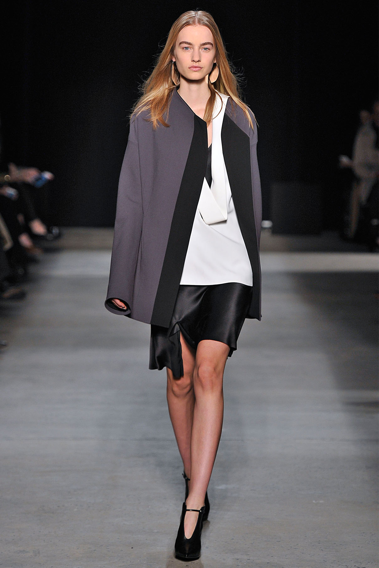 Look 15 Slate double wool crepe jacket over onyx bias silk dress with white crepe top.