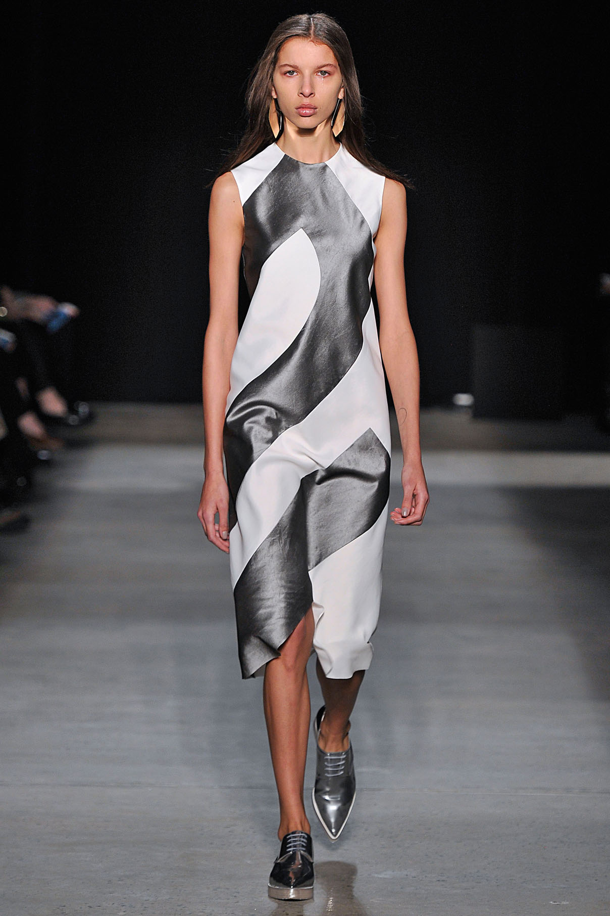 Look 19 Chalk/aluminum crushed paper silk bias dress.