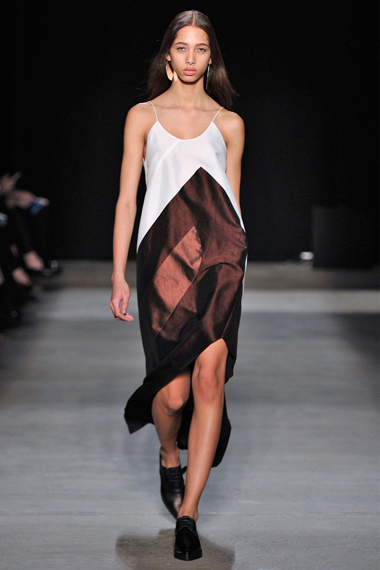 Look 22 Chalk/garnet/quartz crushed paper silk dress.