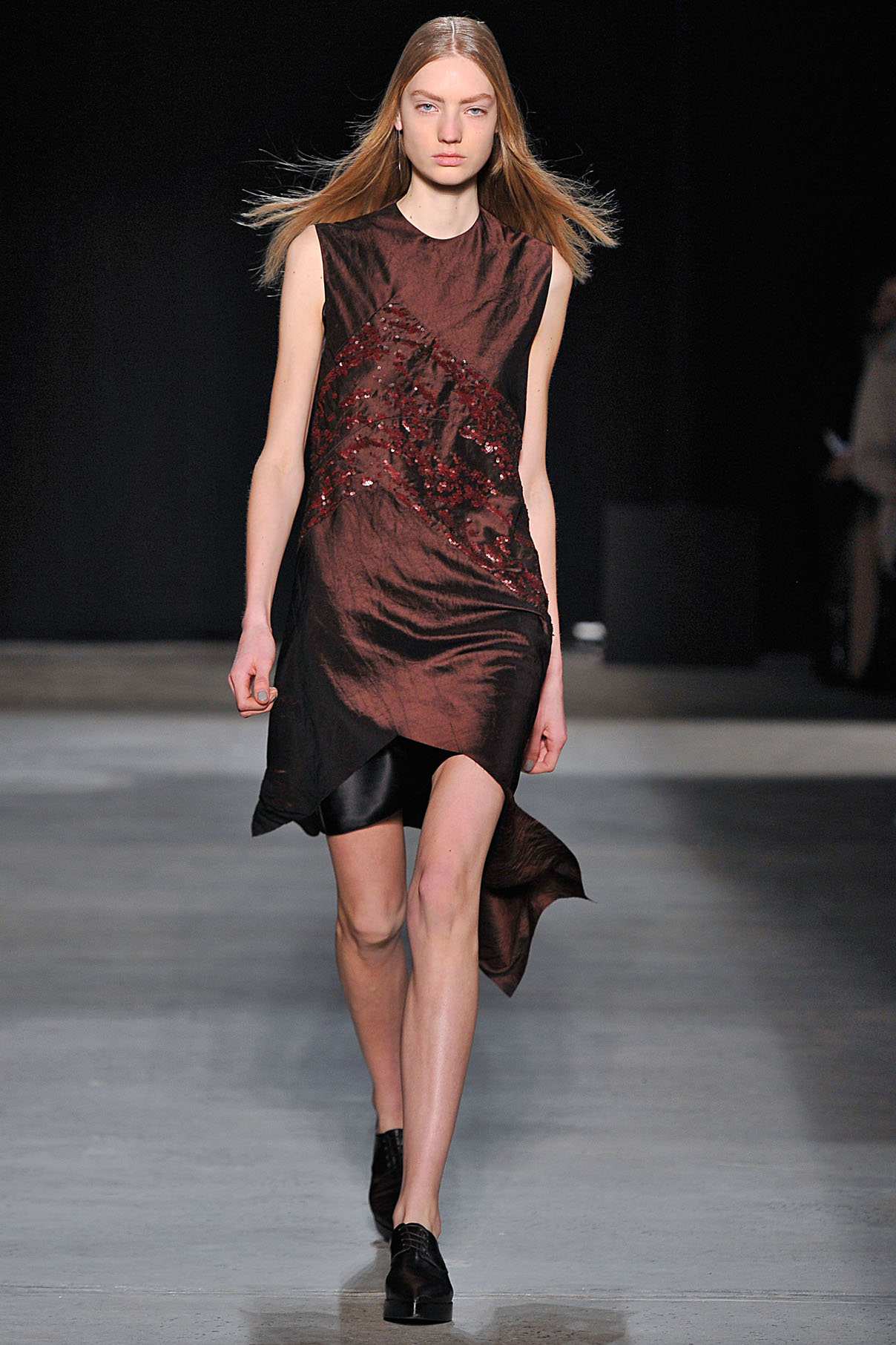 Look 23 Wood sequin embroidered garnet paper silk layer dress.