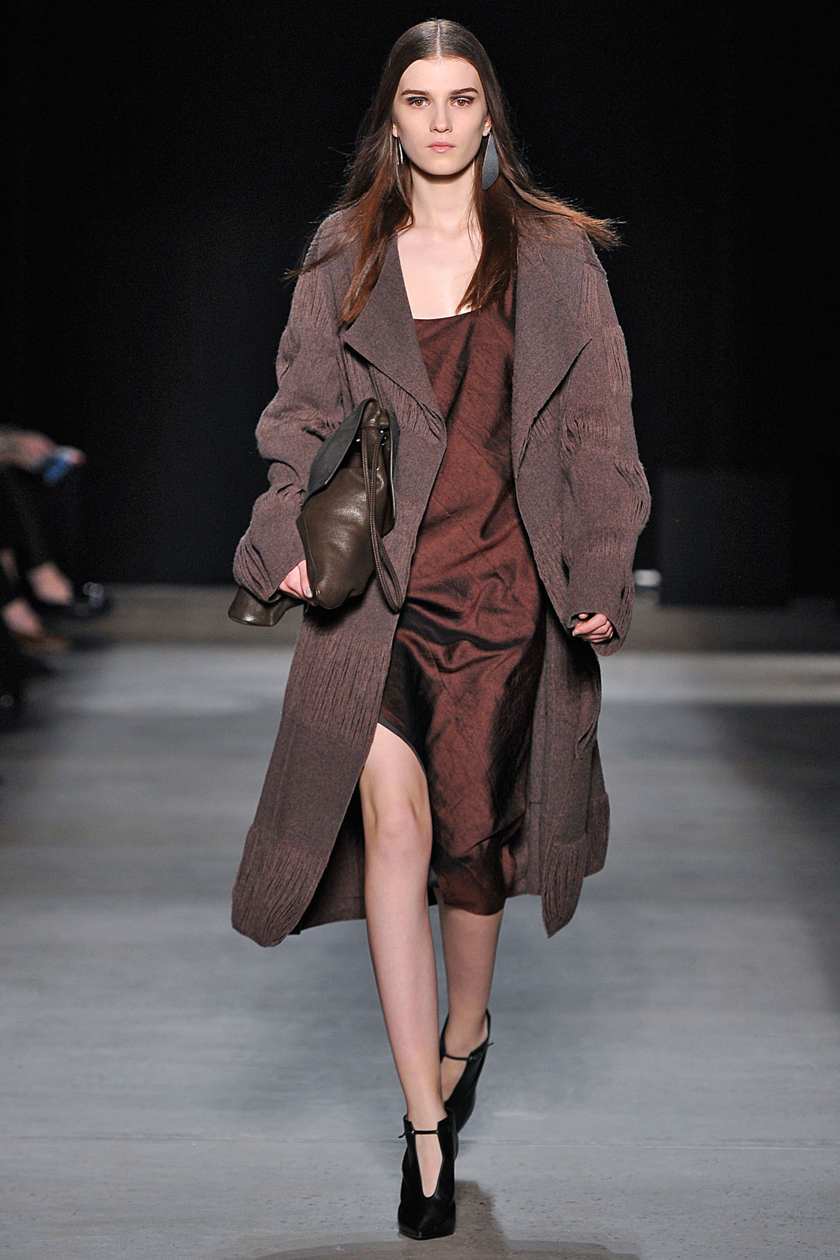 Look 24 Quartz reverse wool yarn jacquard coat with garnet crushed paper silk layer dress.
