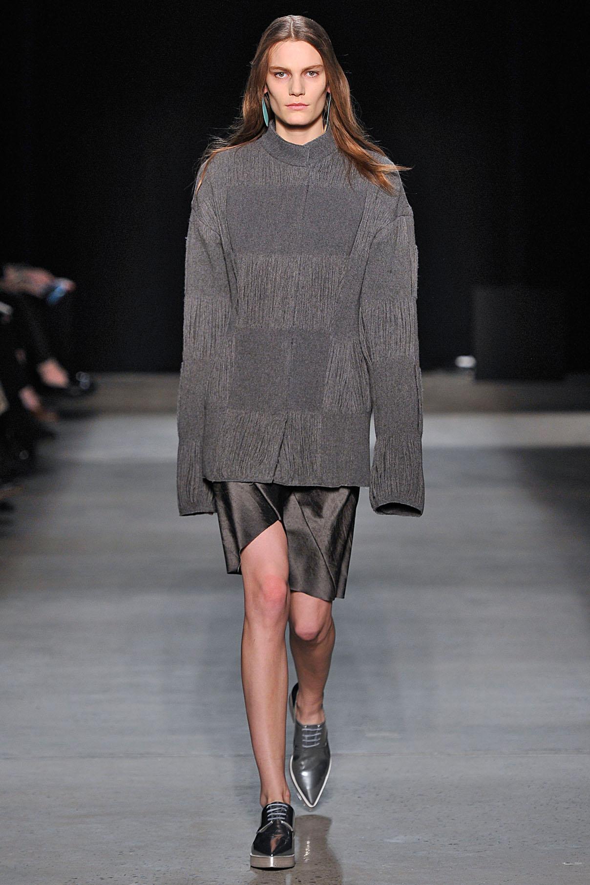 Look 26 Granite reverse wool yarn jacquard jacket with  gunmetal crushed paper silk bias layer dress.
