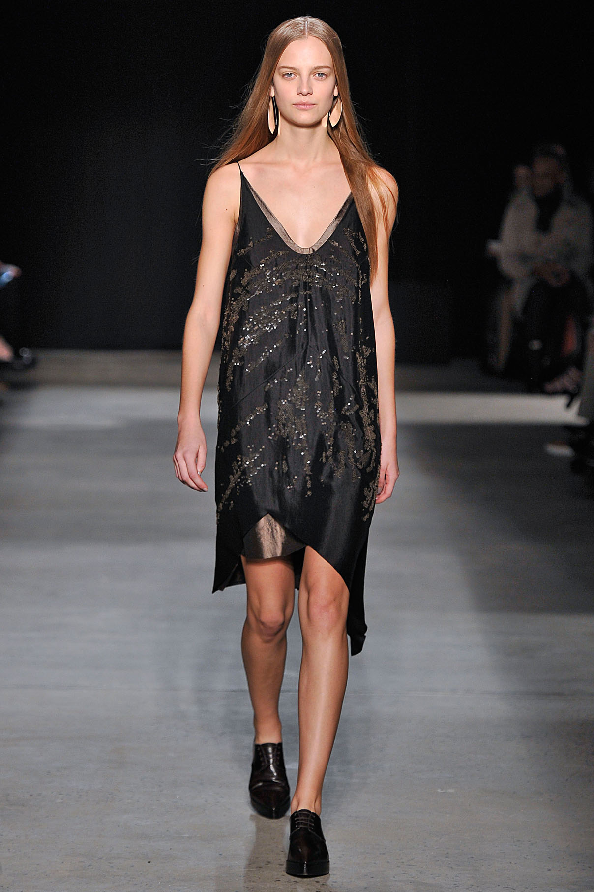 Look 28 Onyx wood sequin embroidered paper silk bias layer dress.