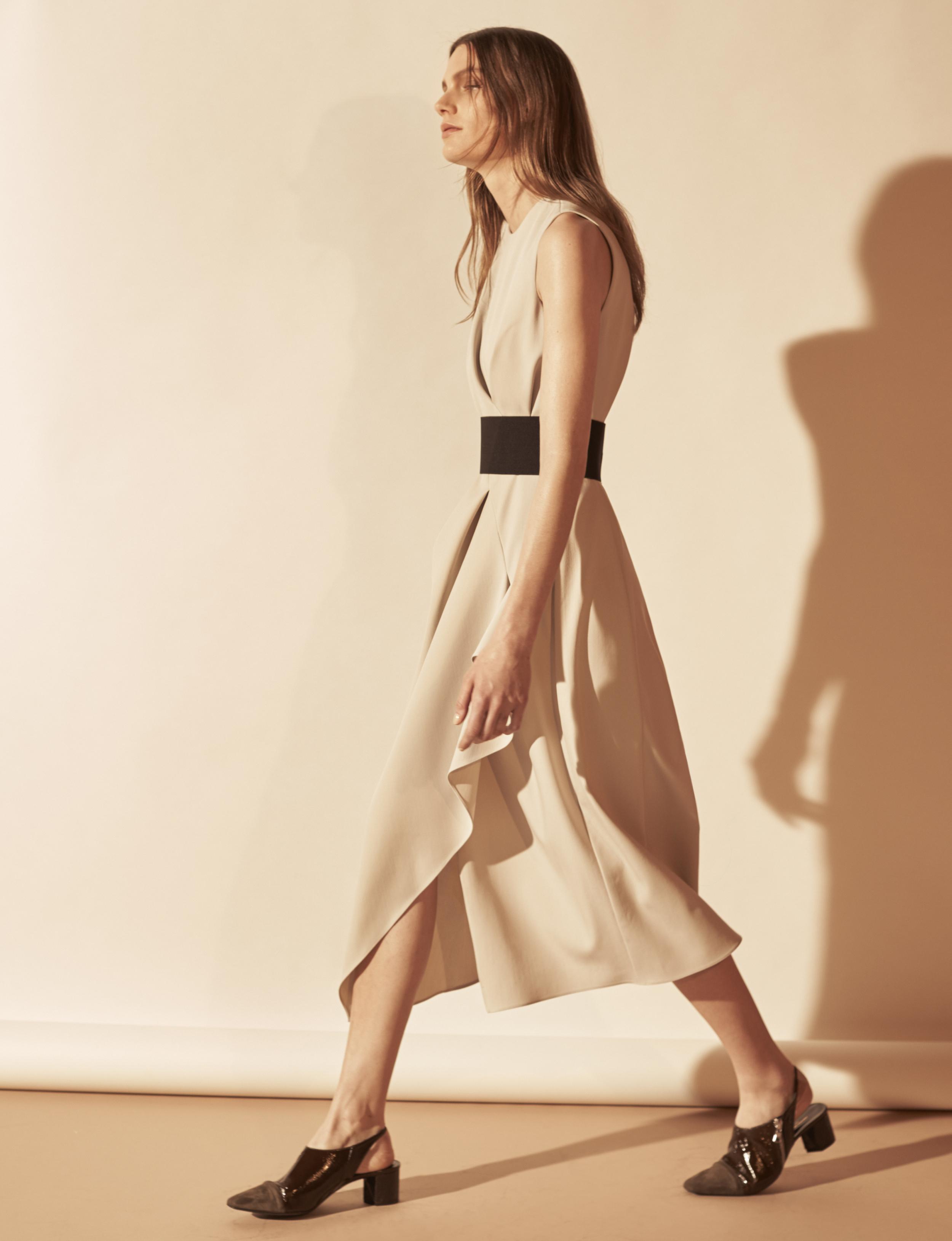 Look 2 Beige silk crepe belted dress.