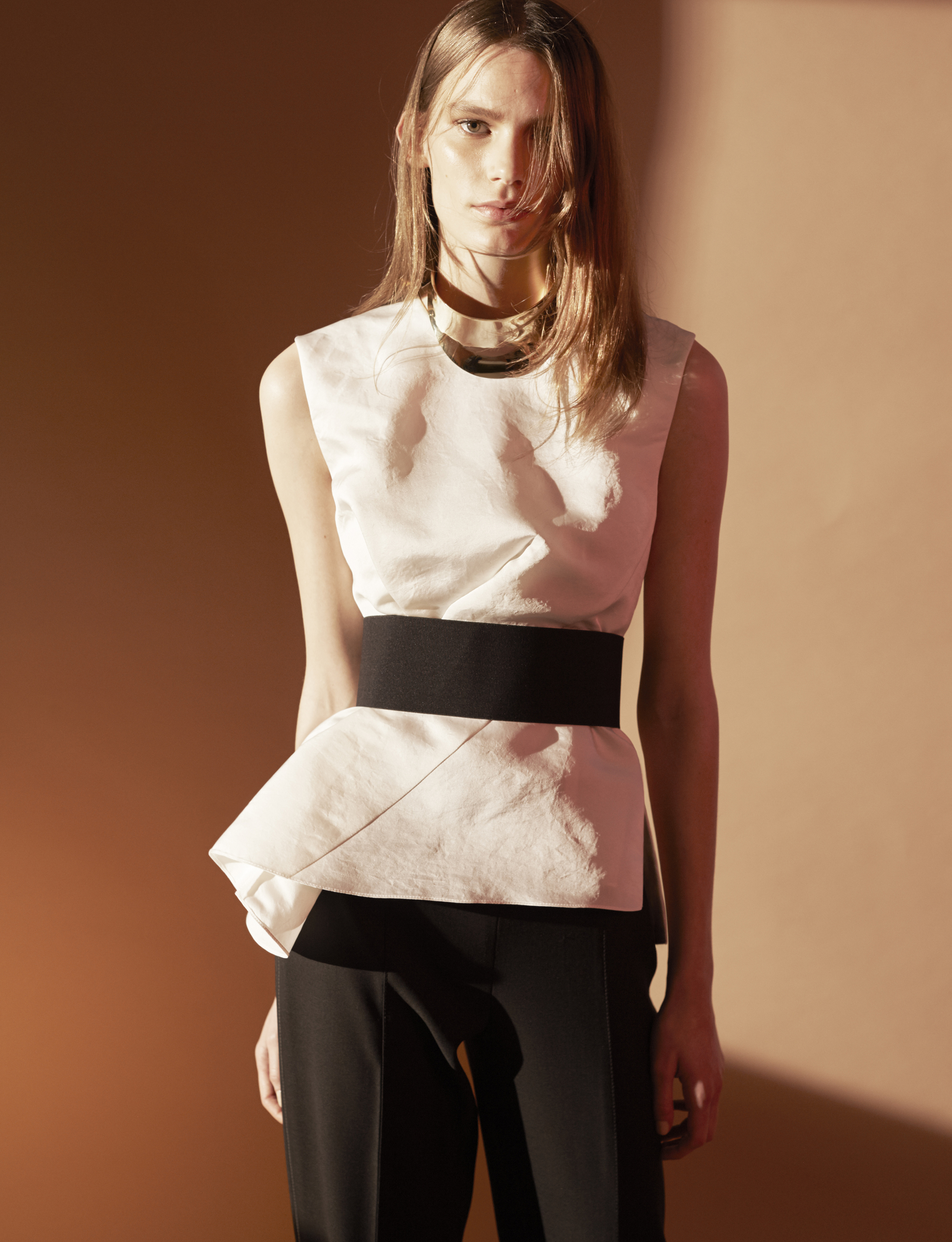 Look 3 White silk faille belted top with wool gabardine pant.