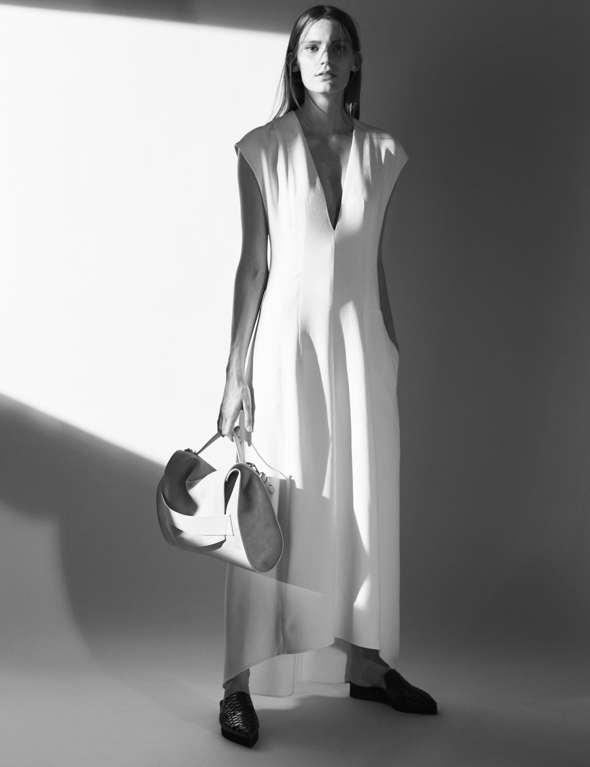 Look 10 White silk crepe dress.