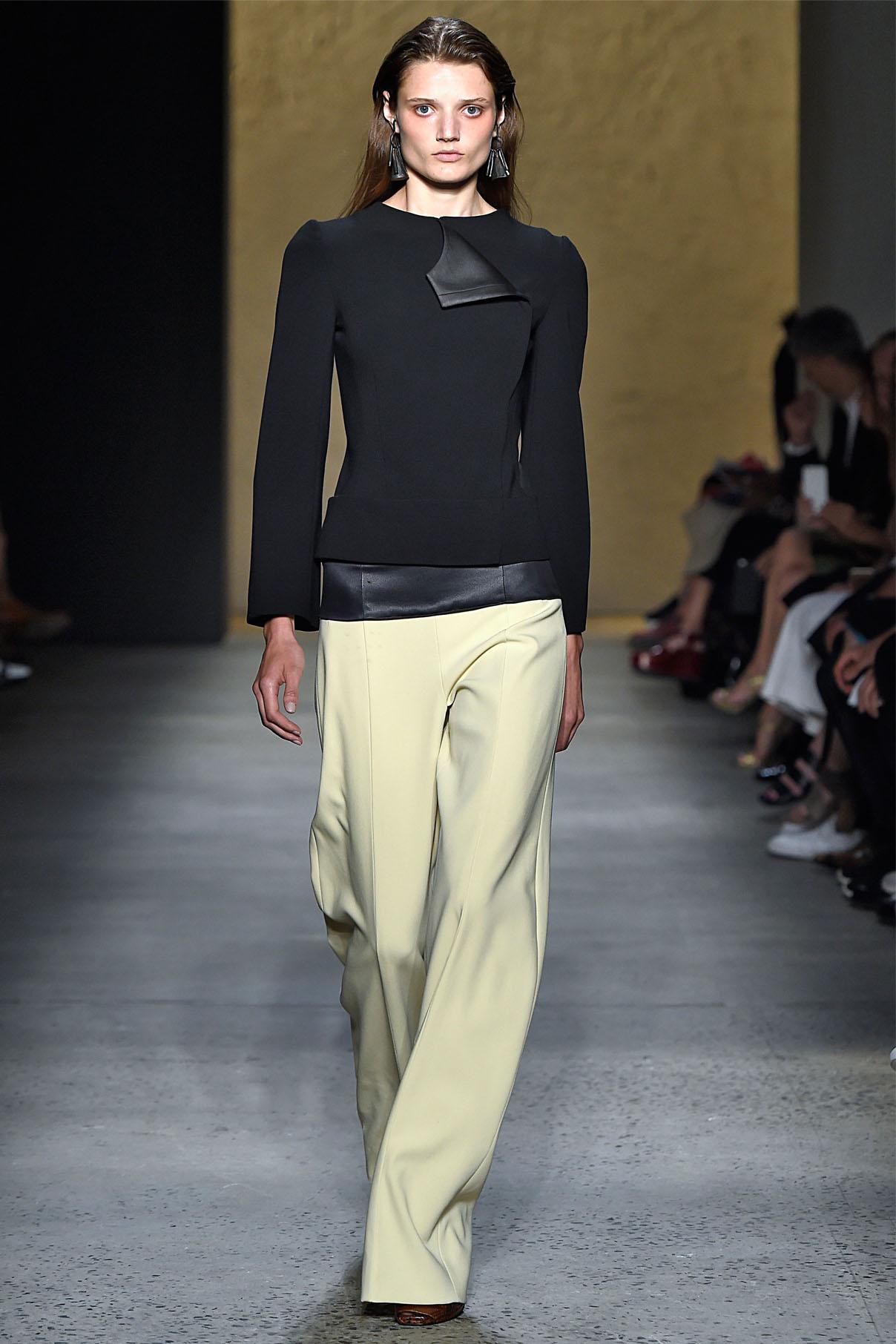 Look 2 Black matte double crepe/slate mudsilk jacket  with citron matte double crepe arch pant.