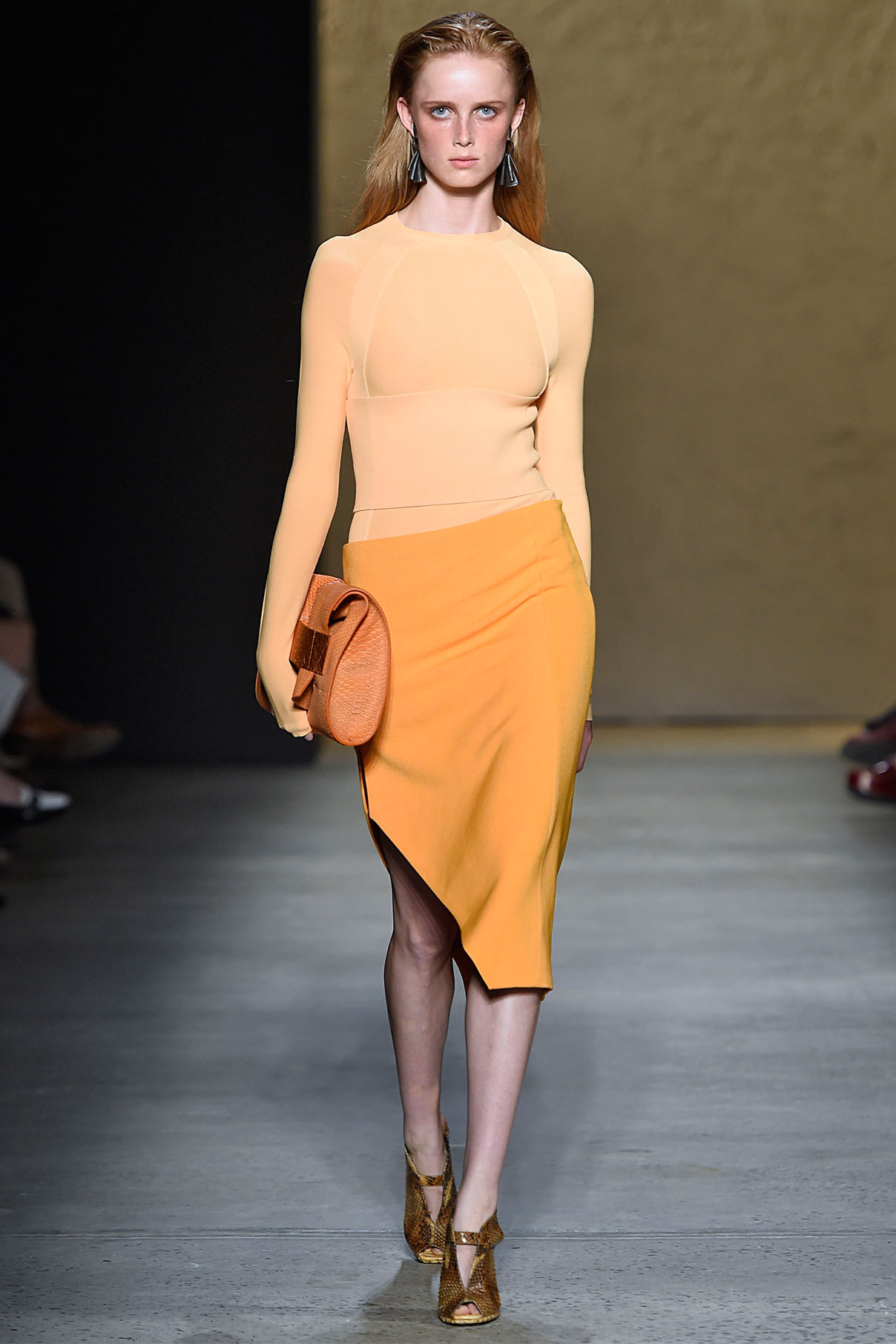 Look 5 Pale amber tubular knit top with bright amber wool ottoman angle skirt.