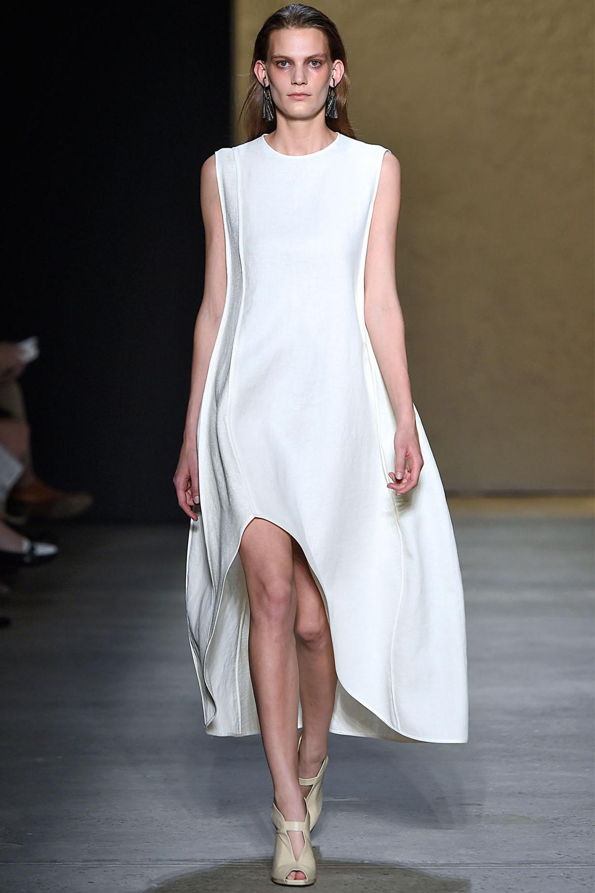Look 12 Alabaster bonded linen tweed/silk chiffon reversible dress.