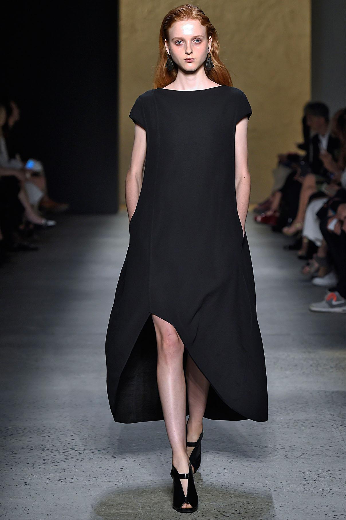 Look 13 Onyx bonded linen tweed/silk chiffon reversible dress.