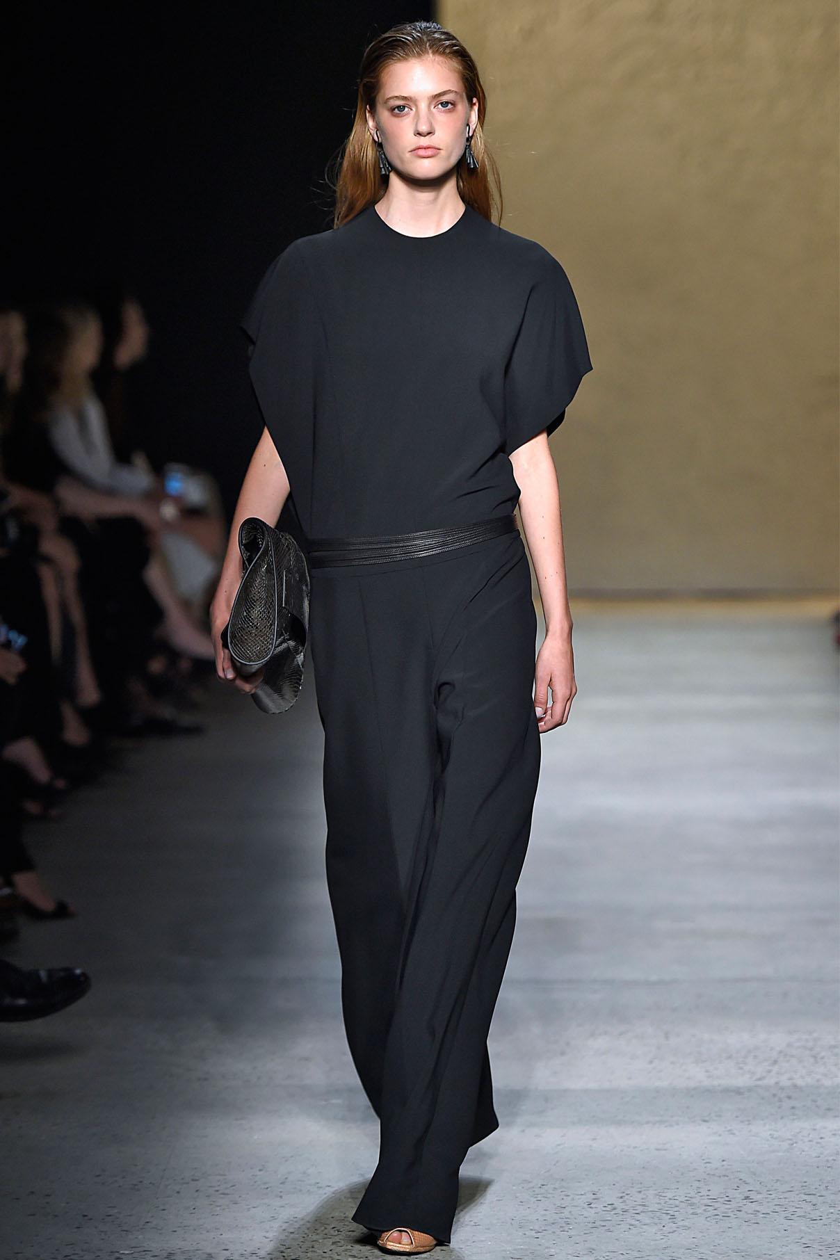 Look 15 Black matte double crepe jumpsuit.