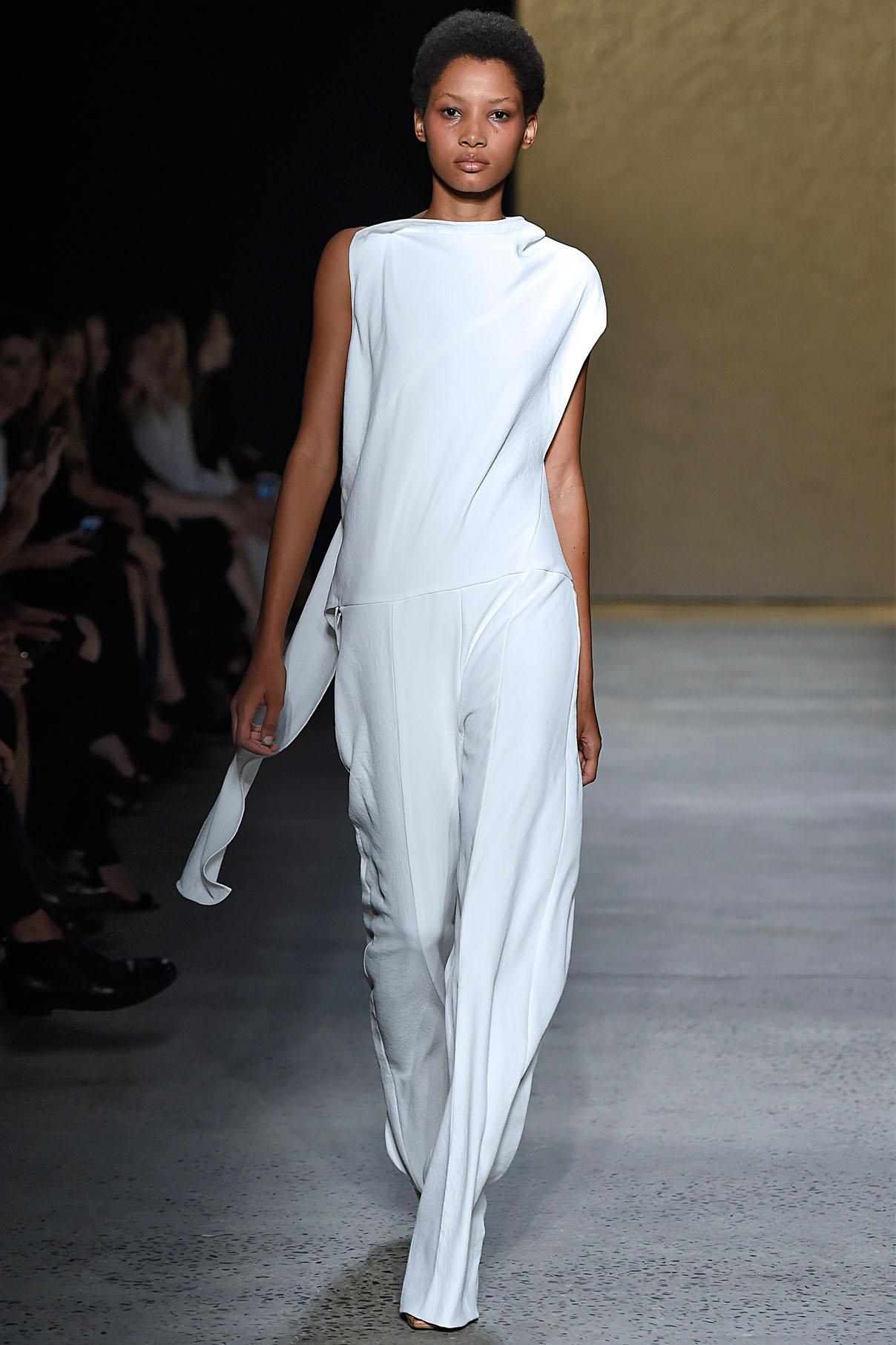 Look 17 Alabaster crepe jumpsuit.