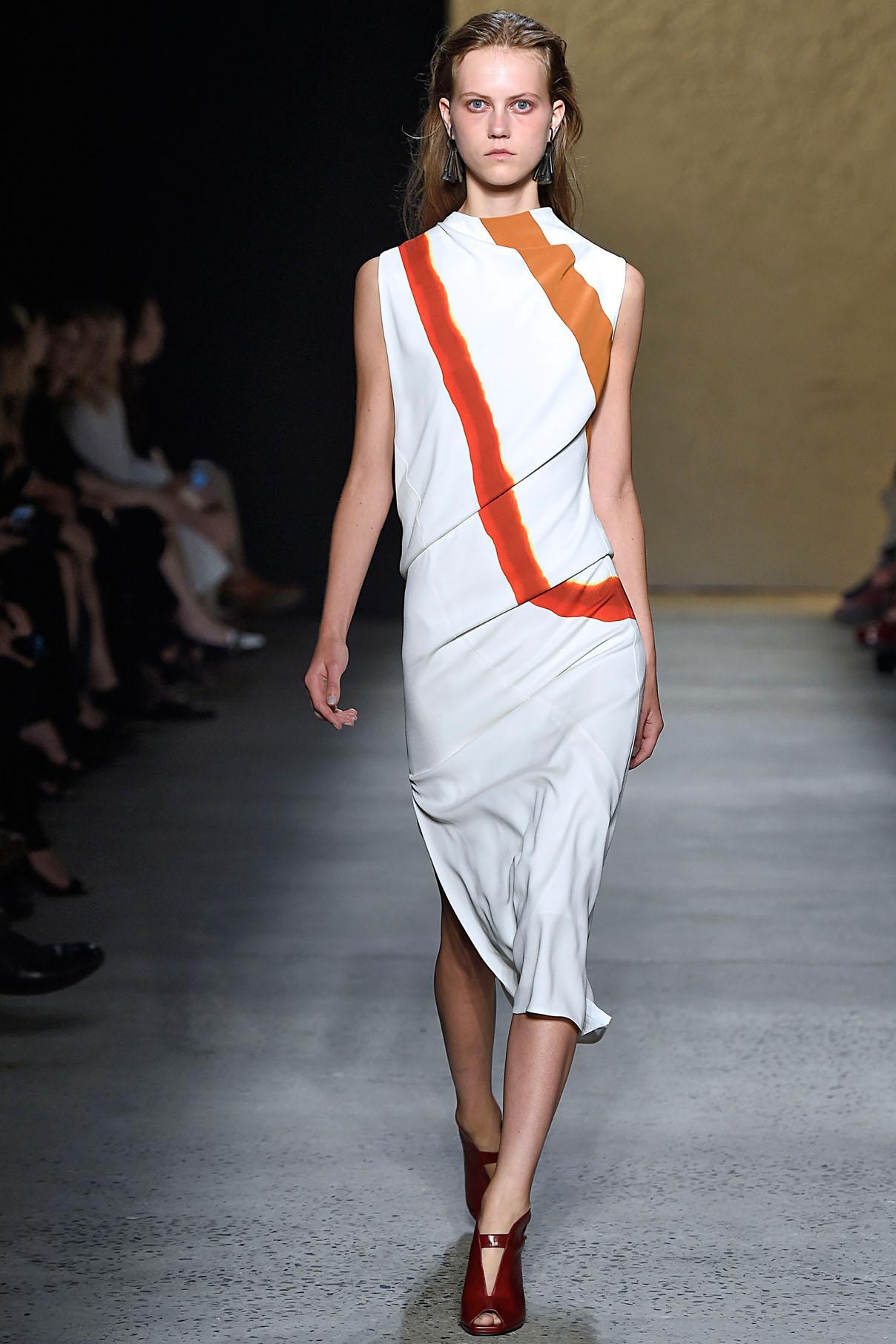 Look 18 Red/flame/amber/white mineral dye print bias dress.