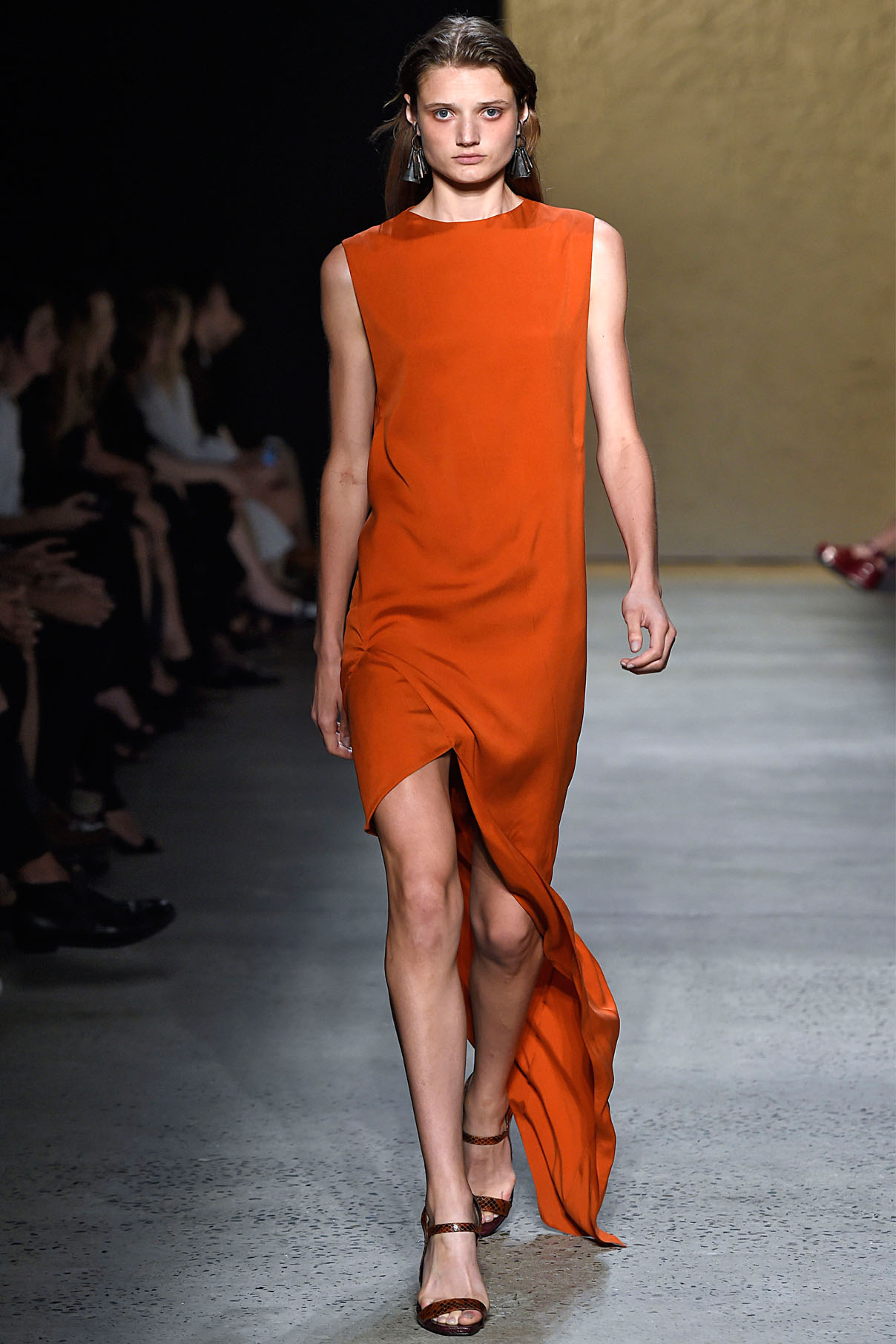 Look 20 Lacquer red silk twill dress.