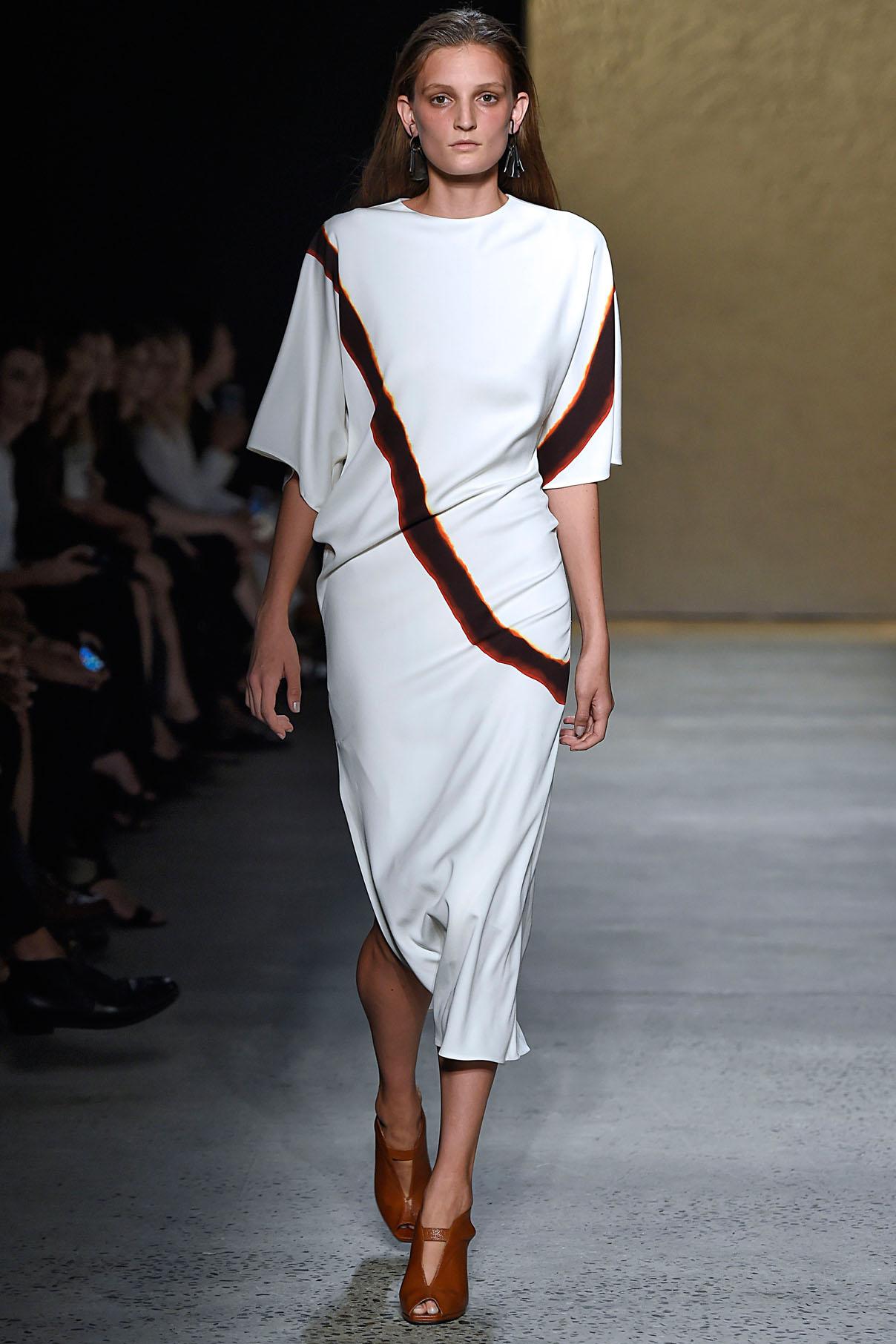 Look 21 Ebony/claret/white mineral dye print bias T-dress.