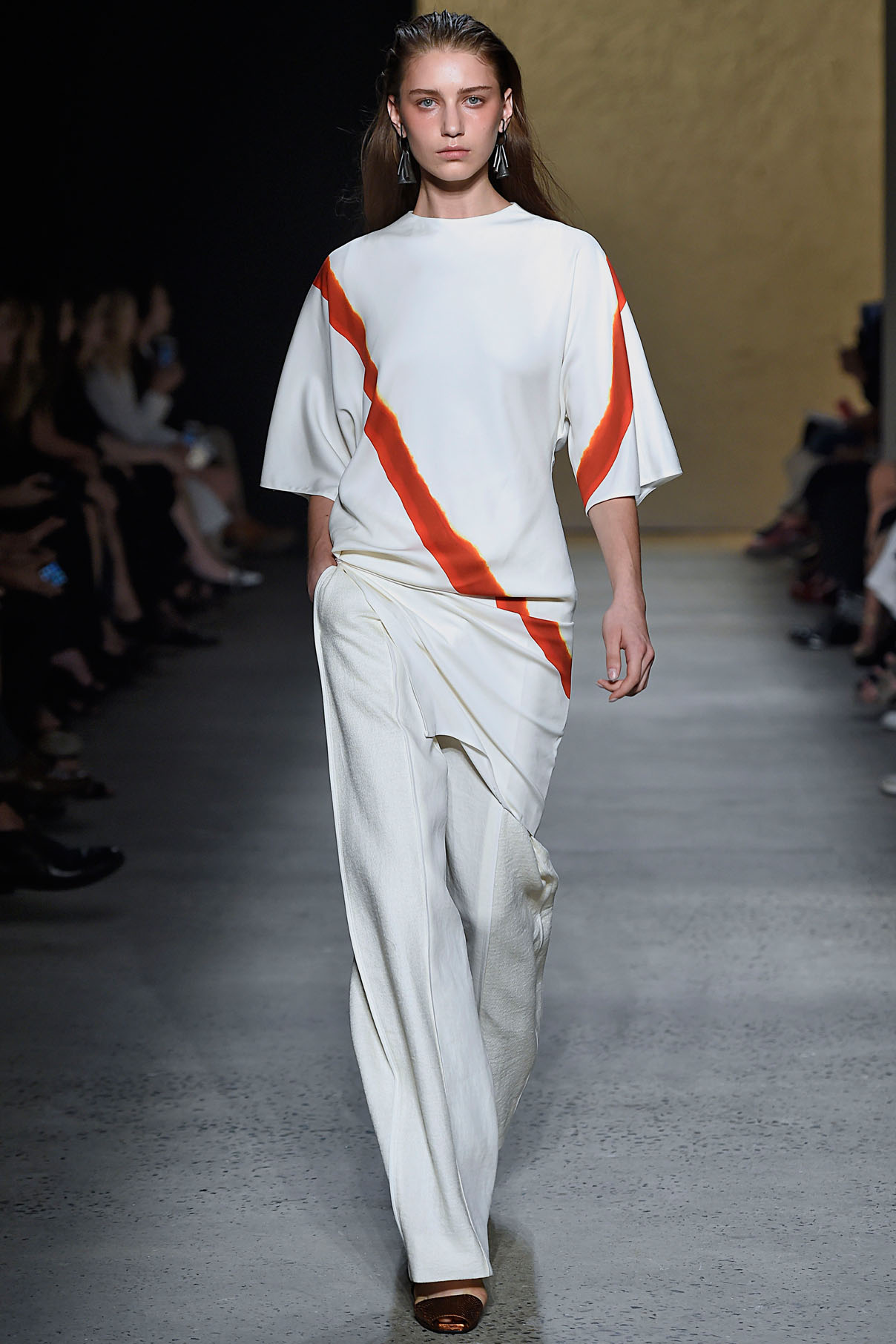 Look 22 Red/flame/amber/white mineral dye print T-top  with alabaster bonded linen tweed/silk chiffon arch pant.