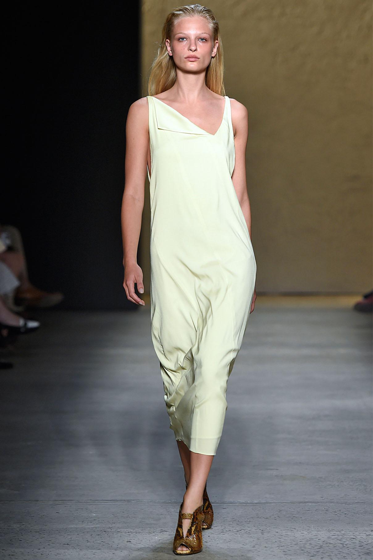 Look 24 Citrine silk twill bias dress.
