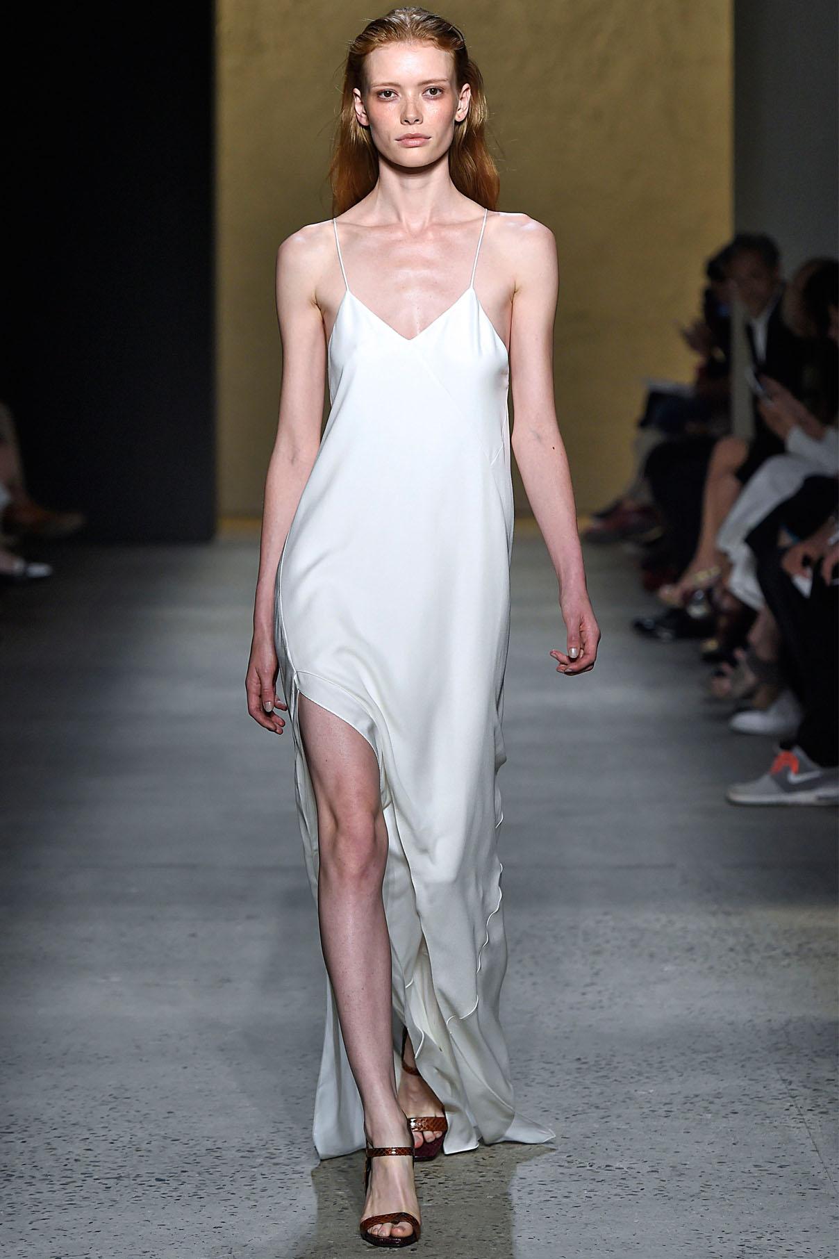 Look 26 Pearl silk crepe/twill bias dress.