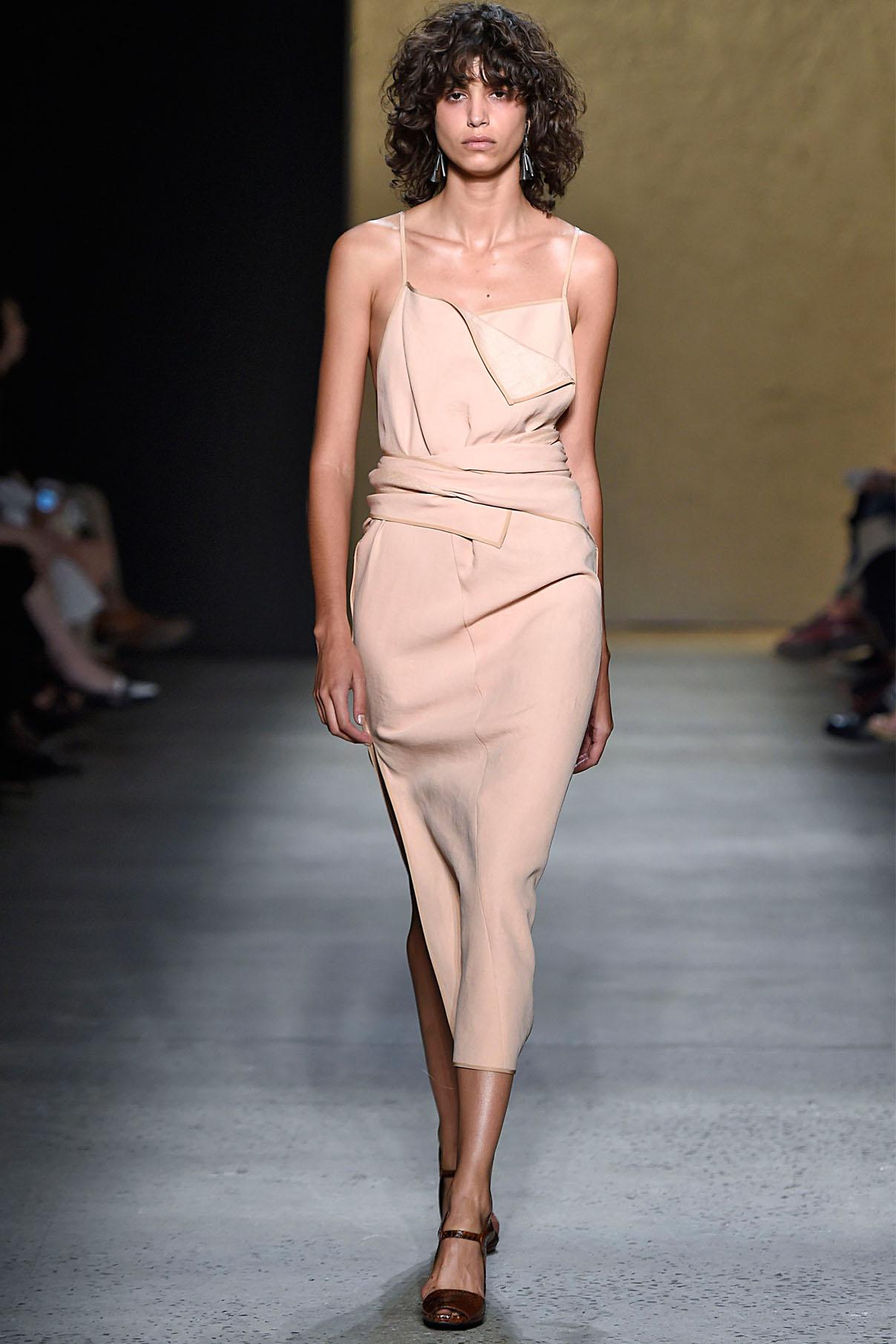 Look 28 Blush bonded linen tweed/silk chiffon origami dress.