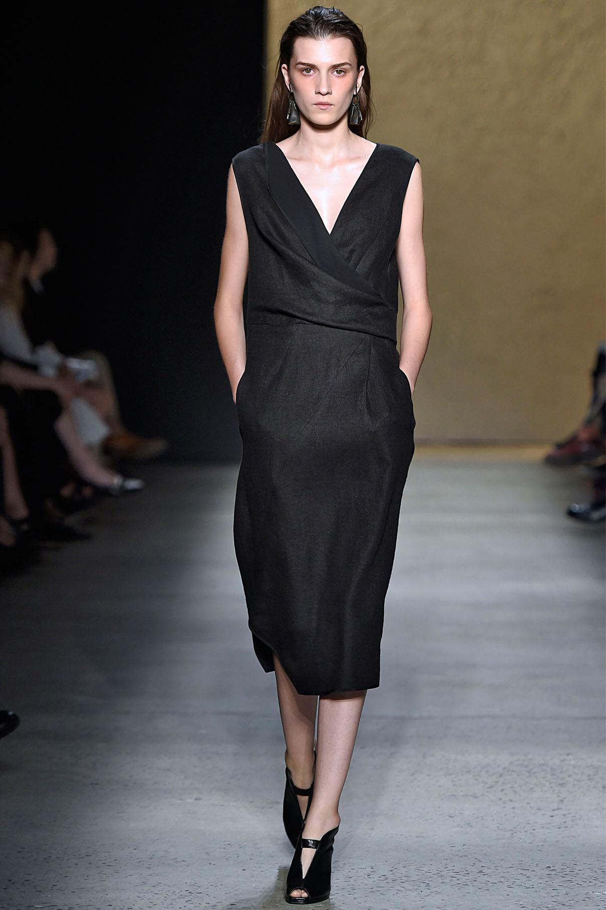 Look 30 Onyx bonded linen tweed/silk chiffon drape dress.
