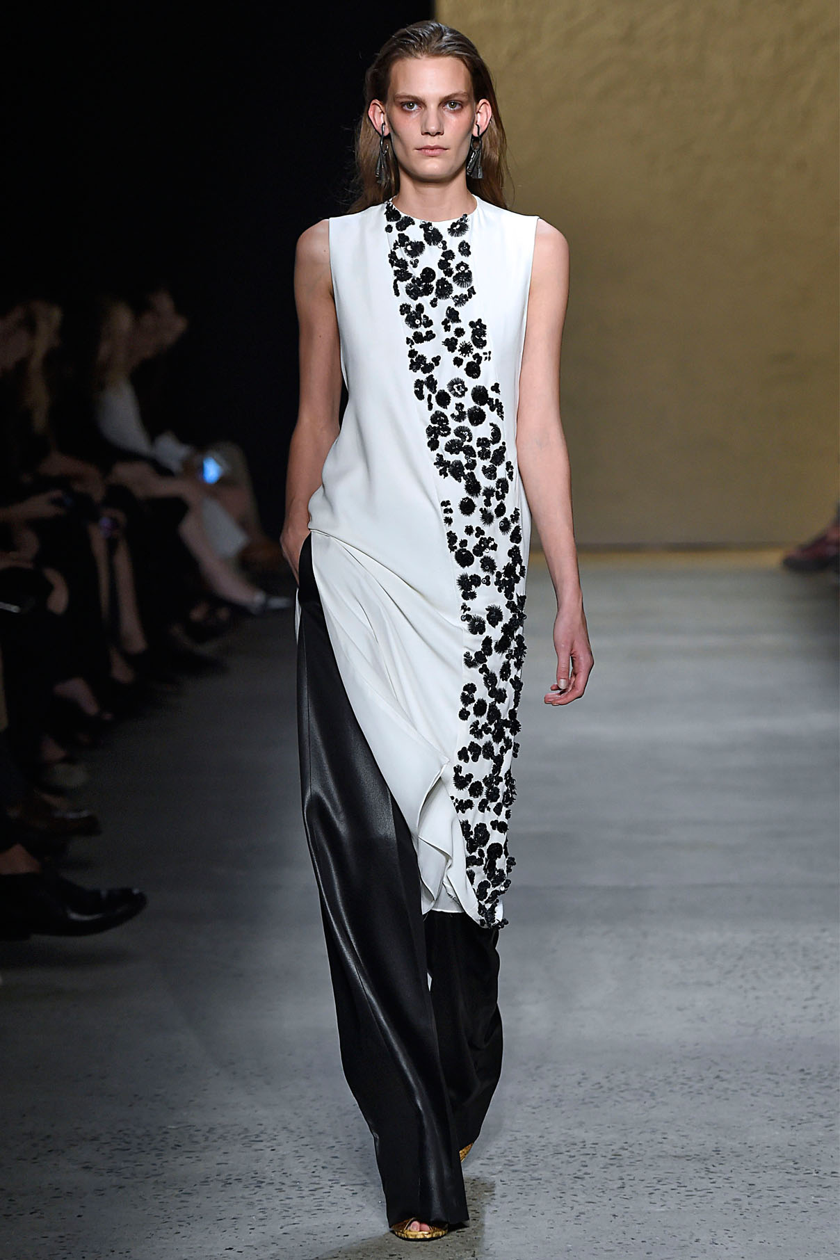 Look 33 Embroidered white silk bias top with black polished sateen arch pant.