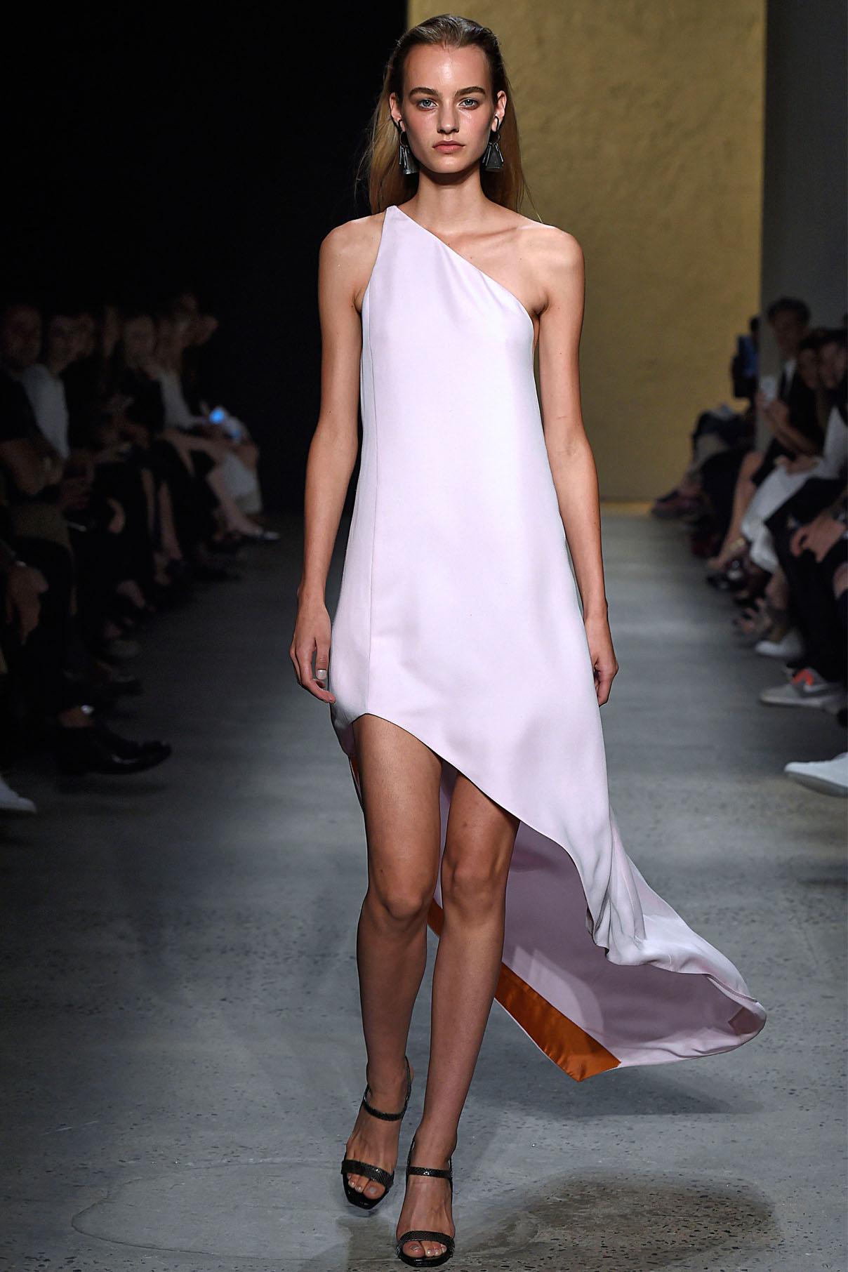 Look 35 Onyx polished sateen asymmetric dress.