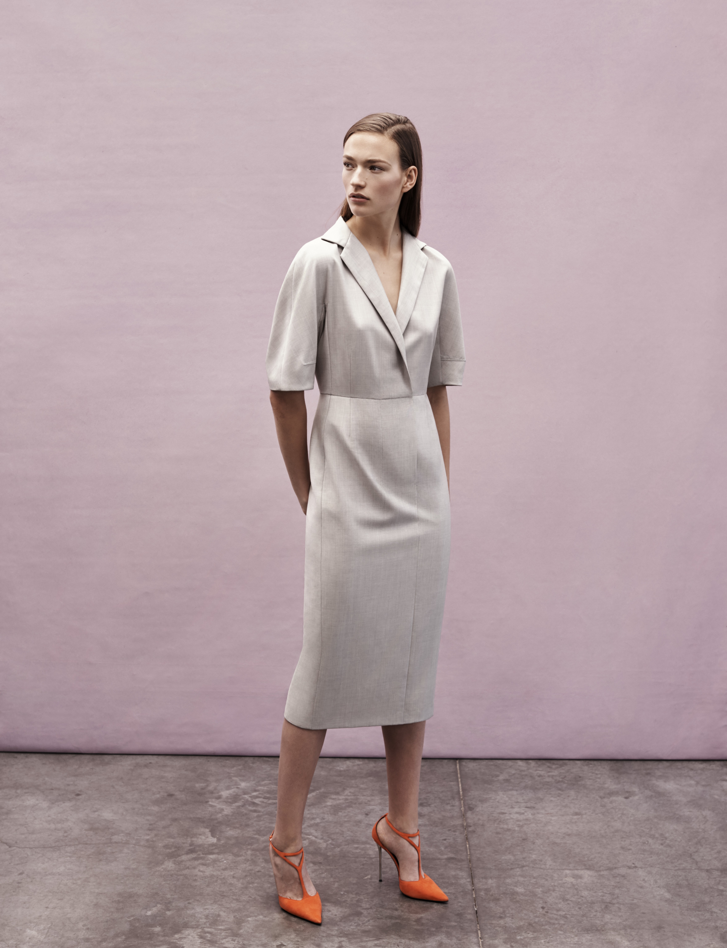 Look 3 Grey tropical wool short sleeve dress.