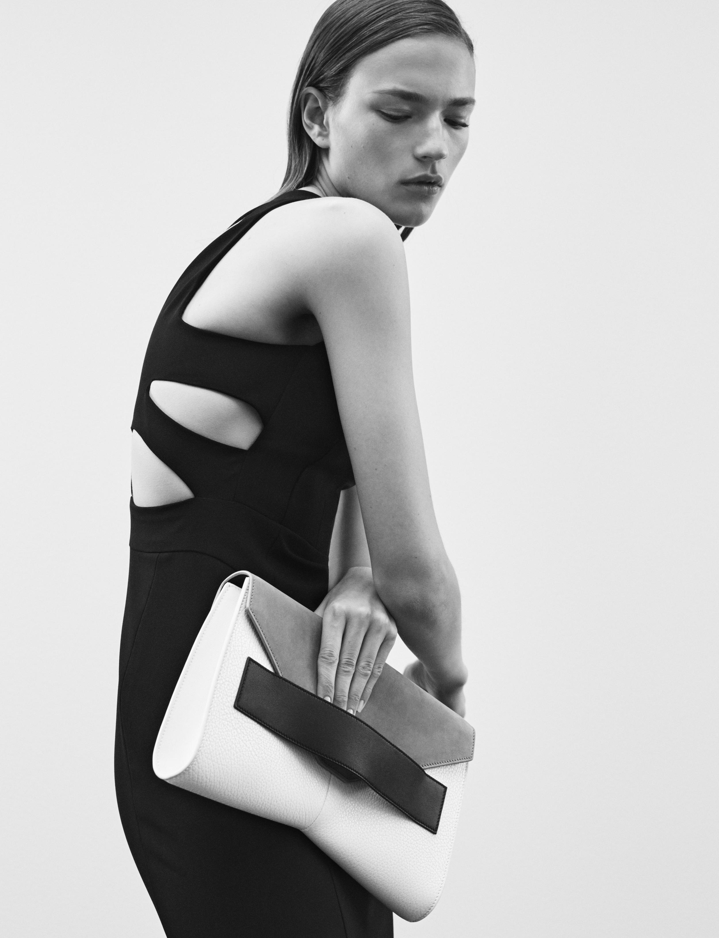 Look 4 Black viscose crepe harness back jumpsuit.