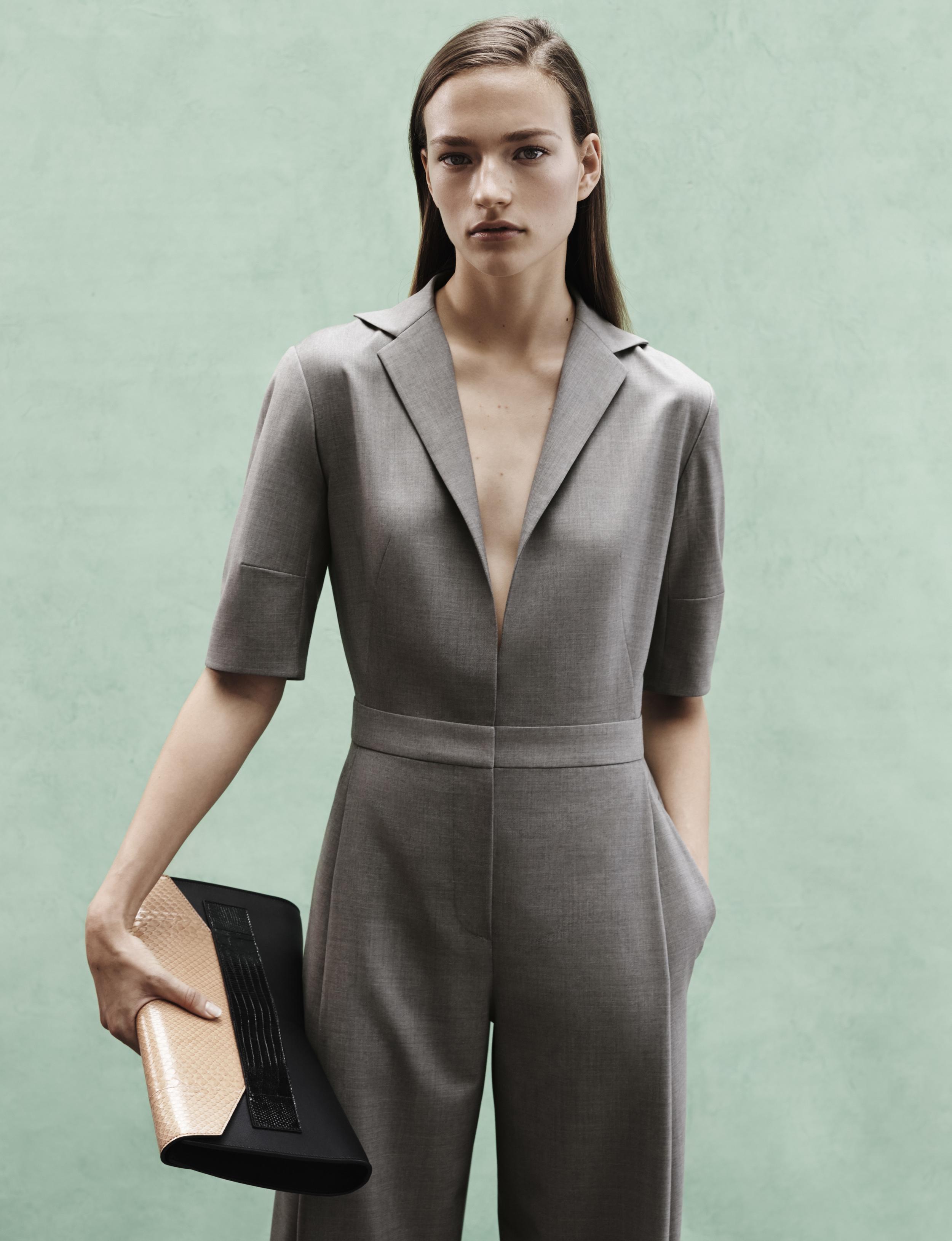 Look 5 Grey tropical wool short sleeve jumpsuit.