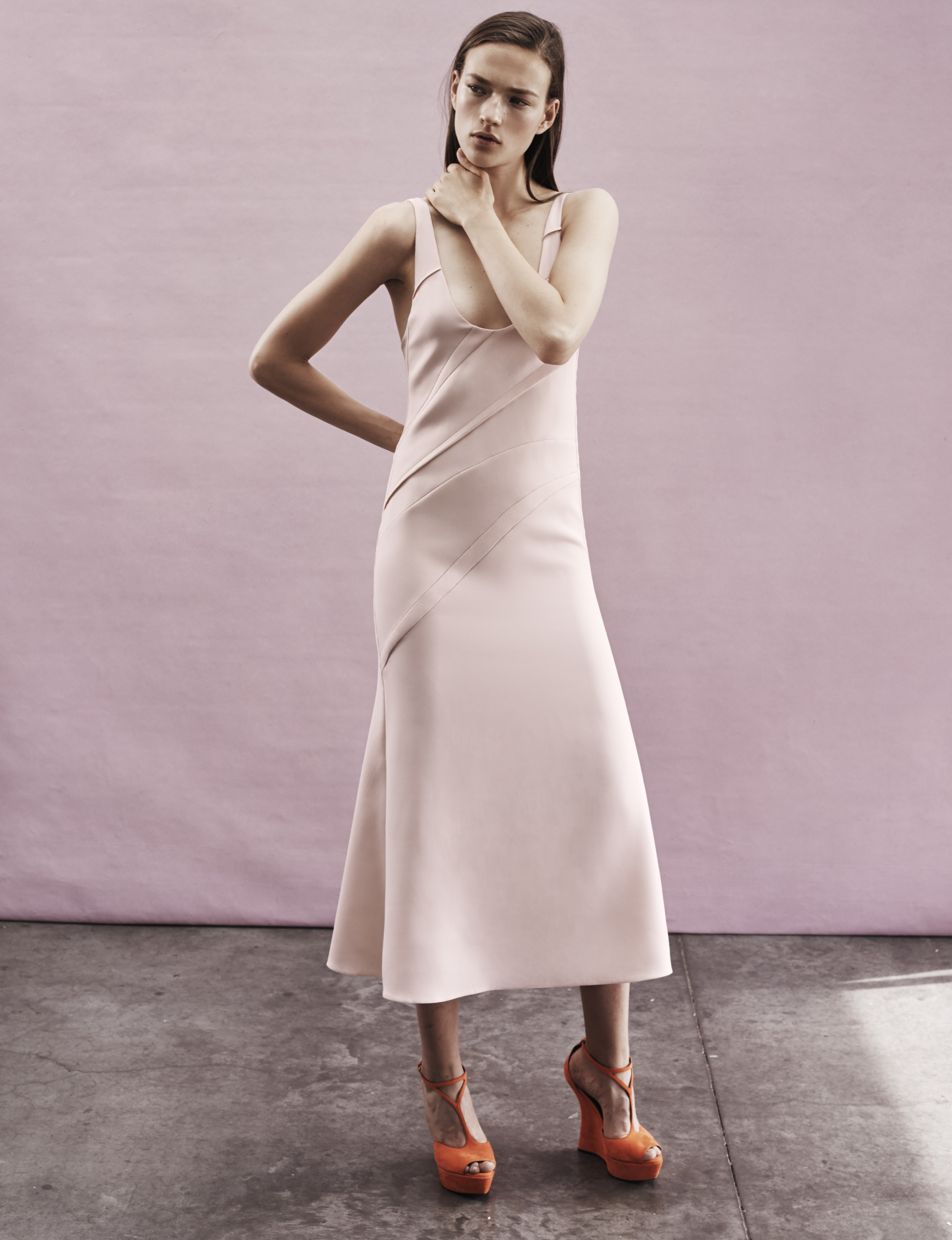 Look 6 Pink viscose crepe pin-tuck dress.