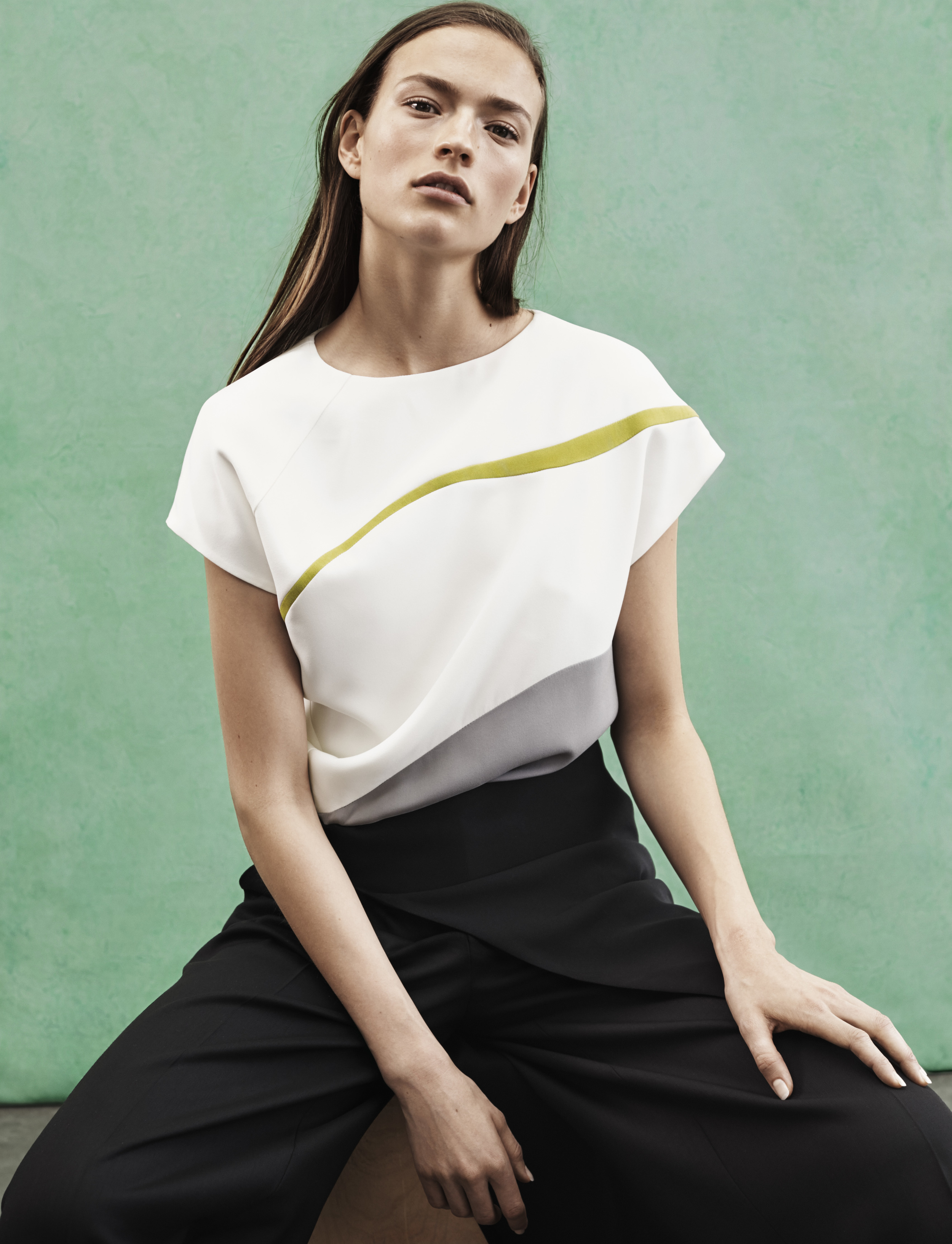Look 8 White/green/grey silk crepe graphic top with black gabardine pant.