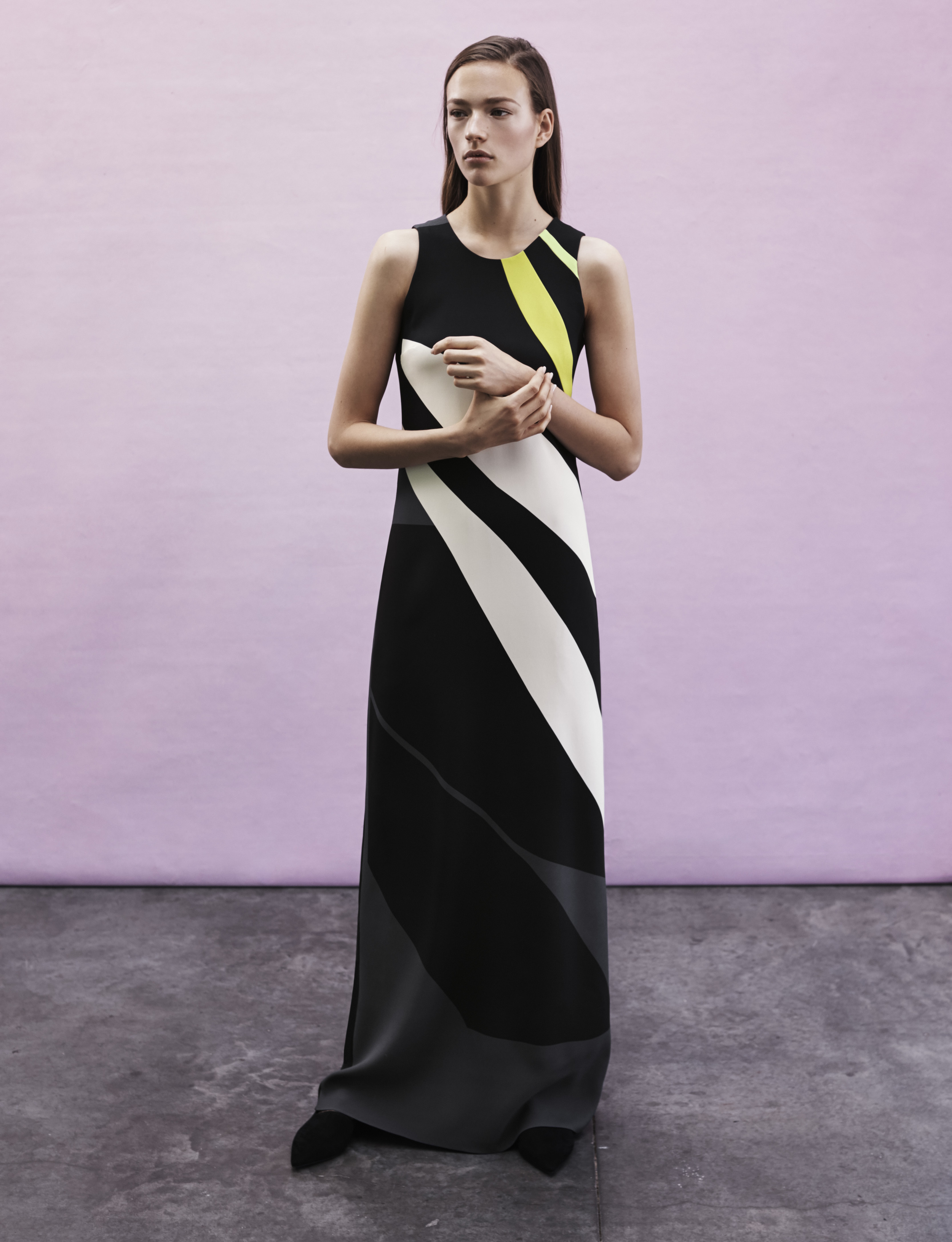 Look 11 Black/white/green printed viscose crepe dress.