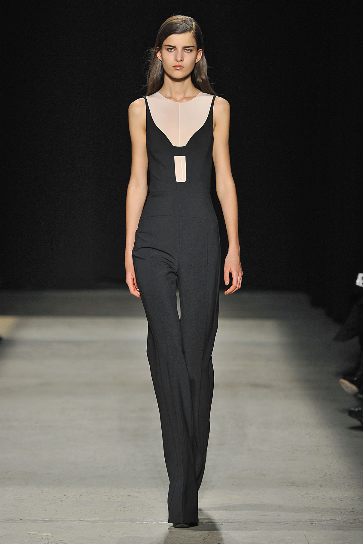 Look 7 Black scuba crepe jumpsuit with nude sheer jersey top.