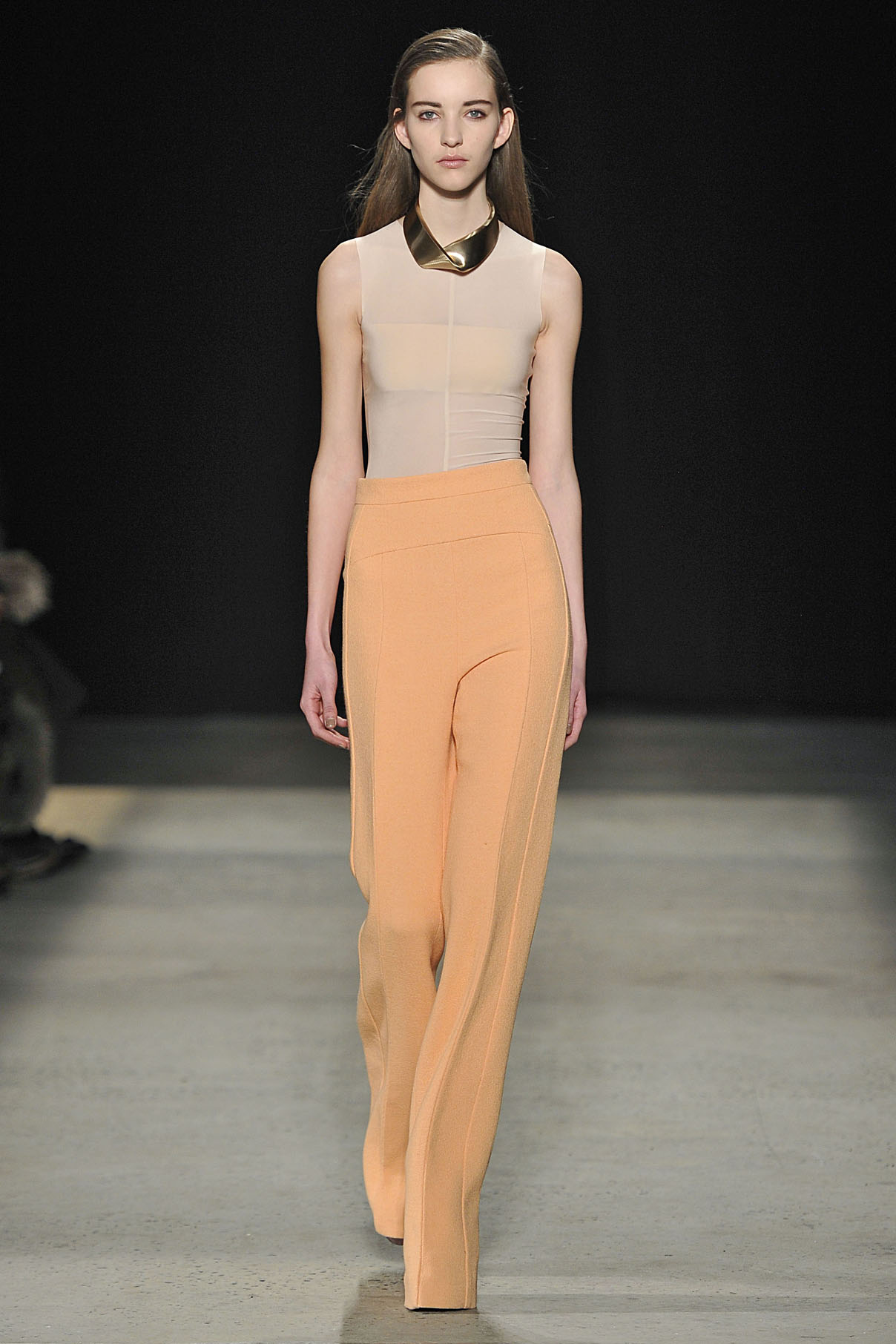 Look 13 Nude sheer jersey top with pink wool crepe pant.