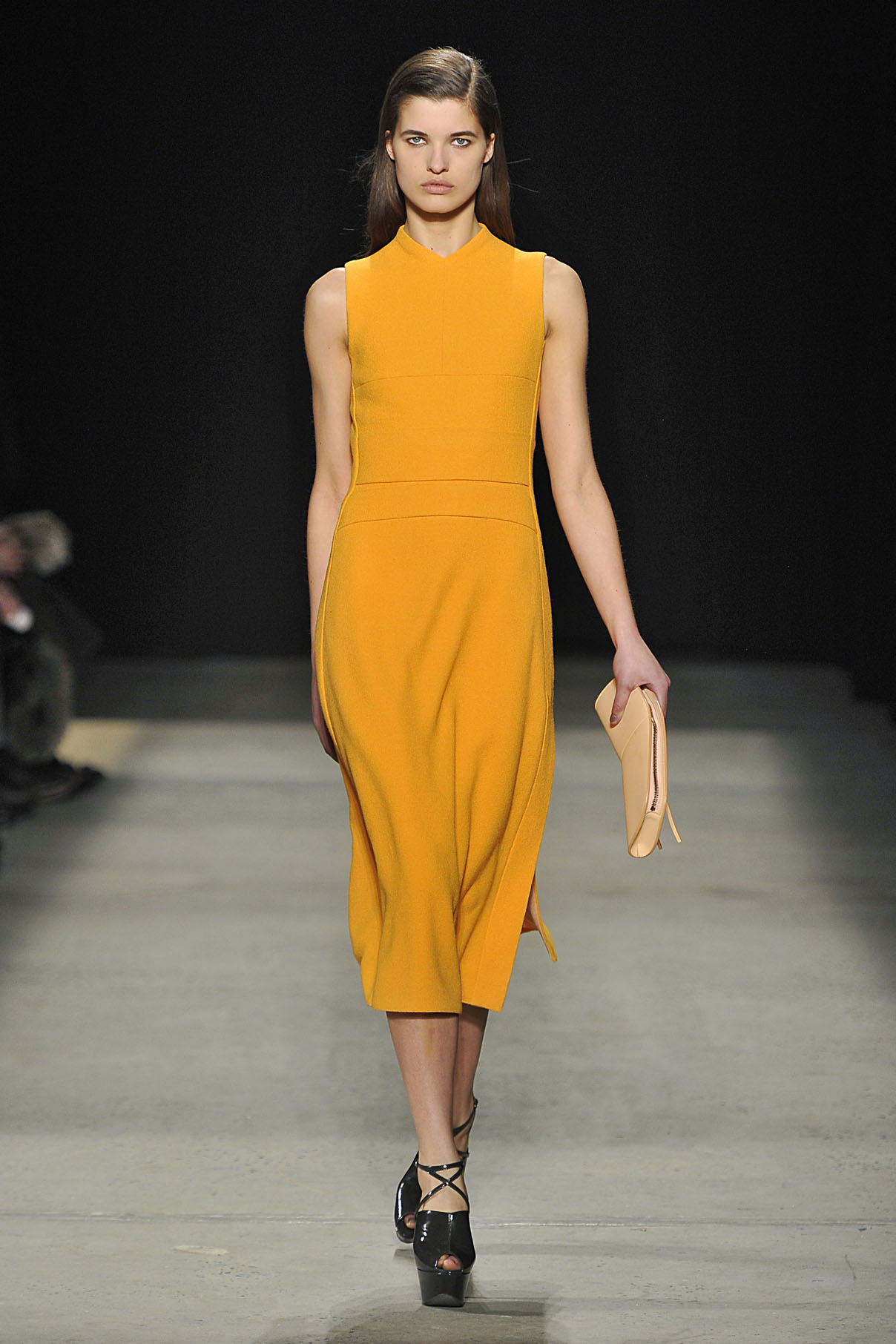 Look 15 Marigold wool crepe dress.