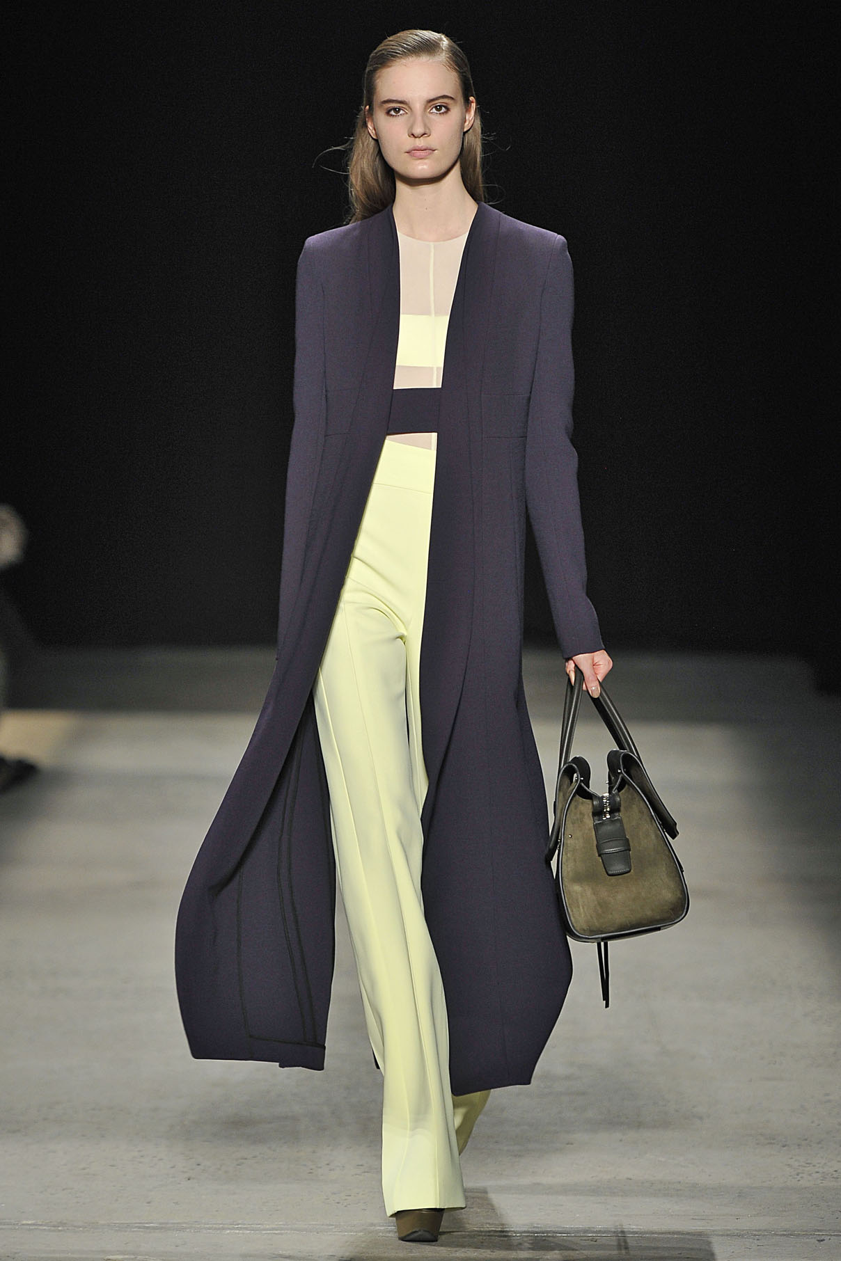 Look 18 Iris wool coat with citrine sheer jersey top and citrine scuba crepe pant.