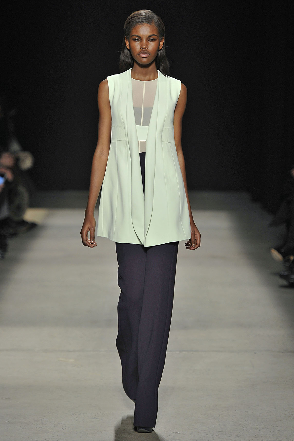 Look 19 Mint crepe vest with citrine sheer jersey top and iris wool pant.