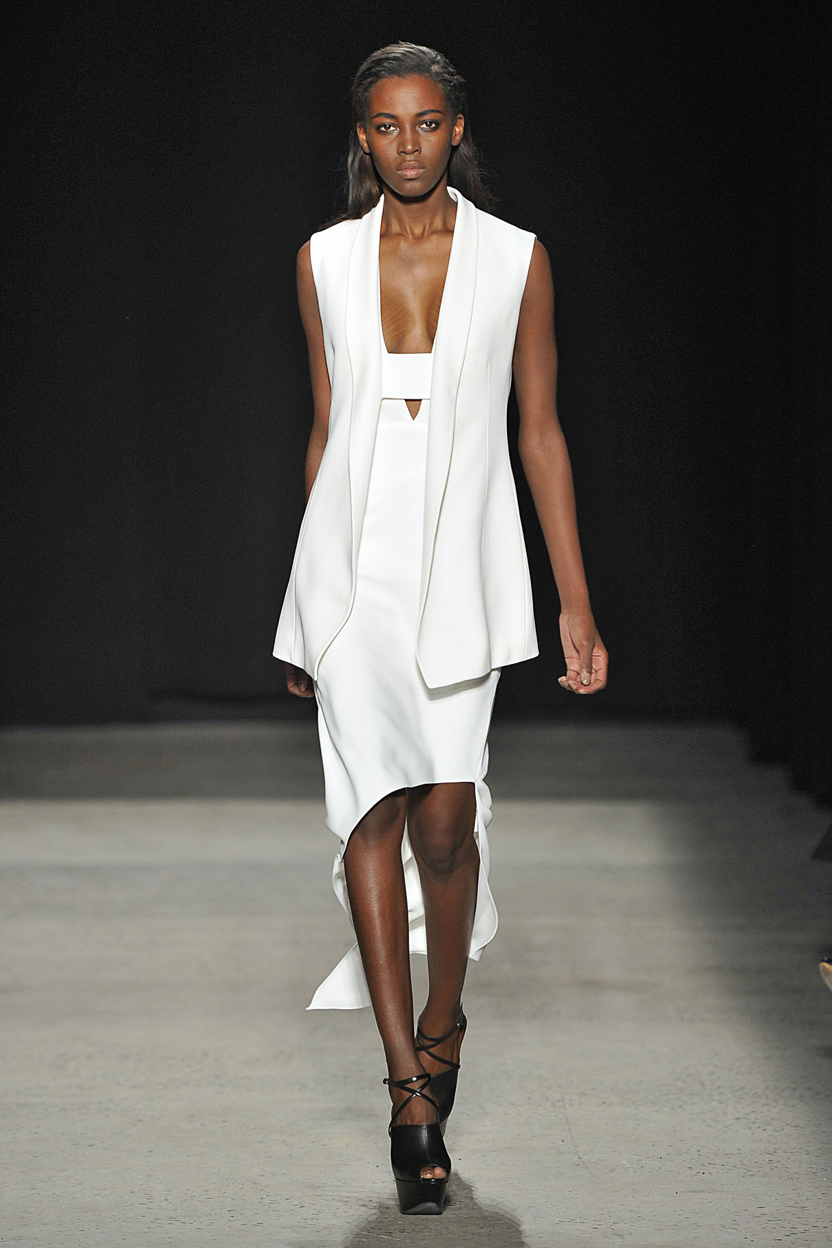 Look 27 Chalk crepe vest with chalk crepe asymmetrical dress.