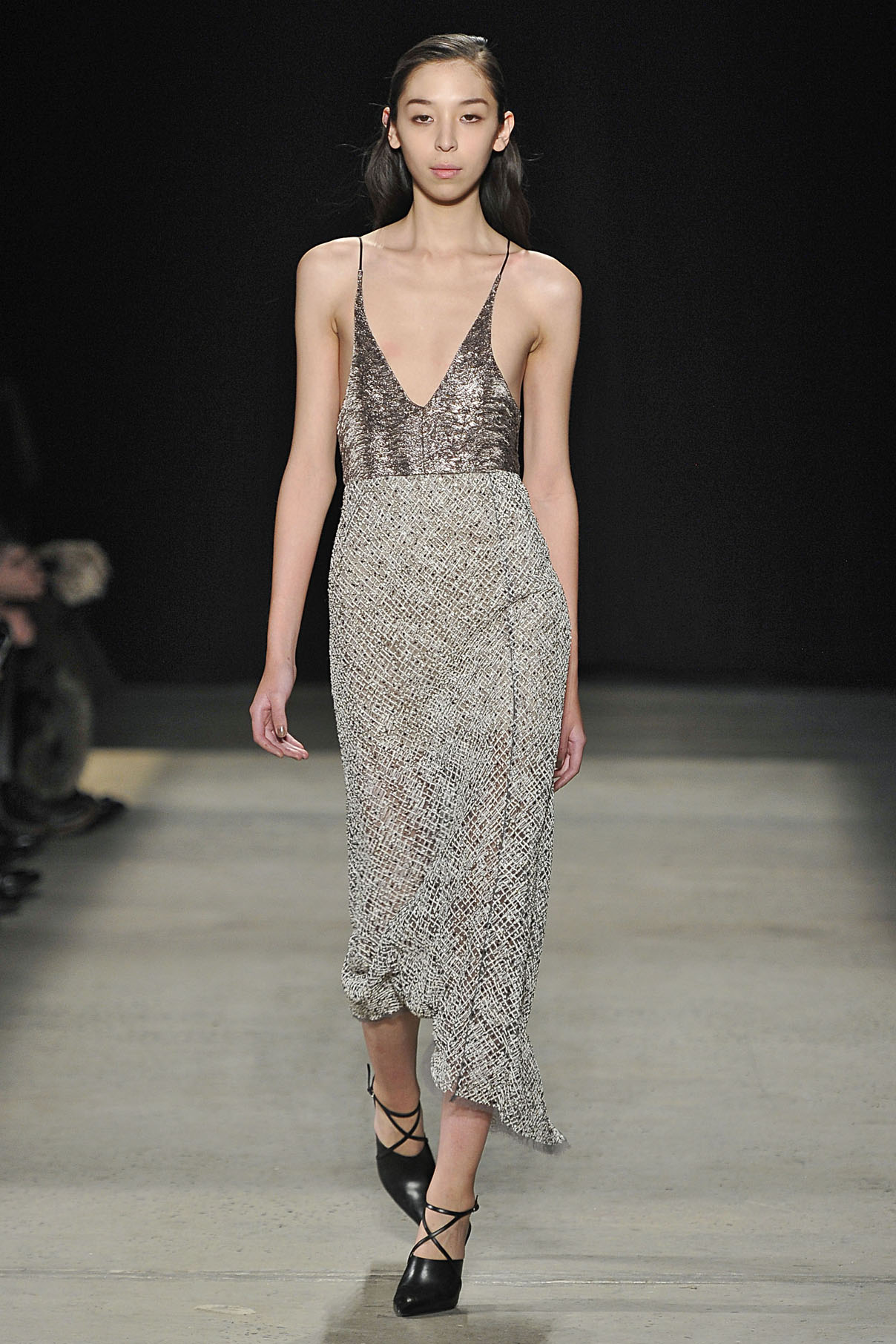 Look 26 Platinum bullion/tulle embroidered dress.